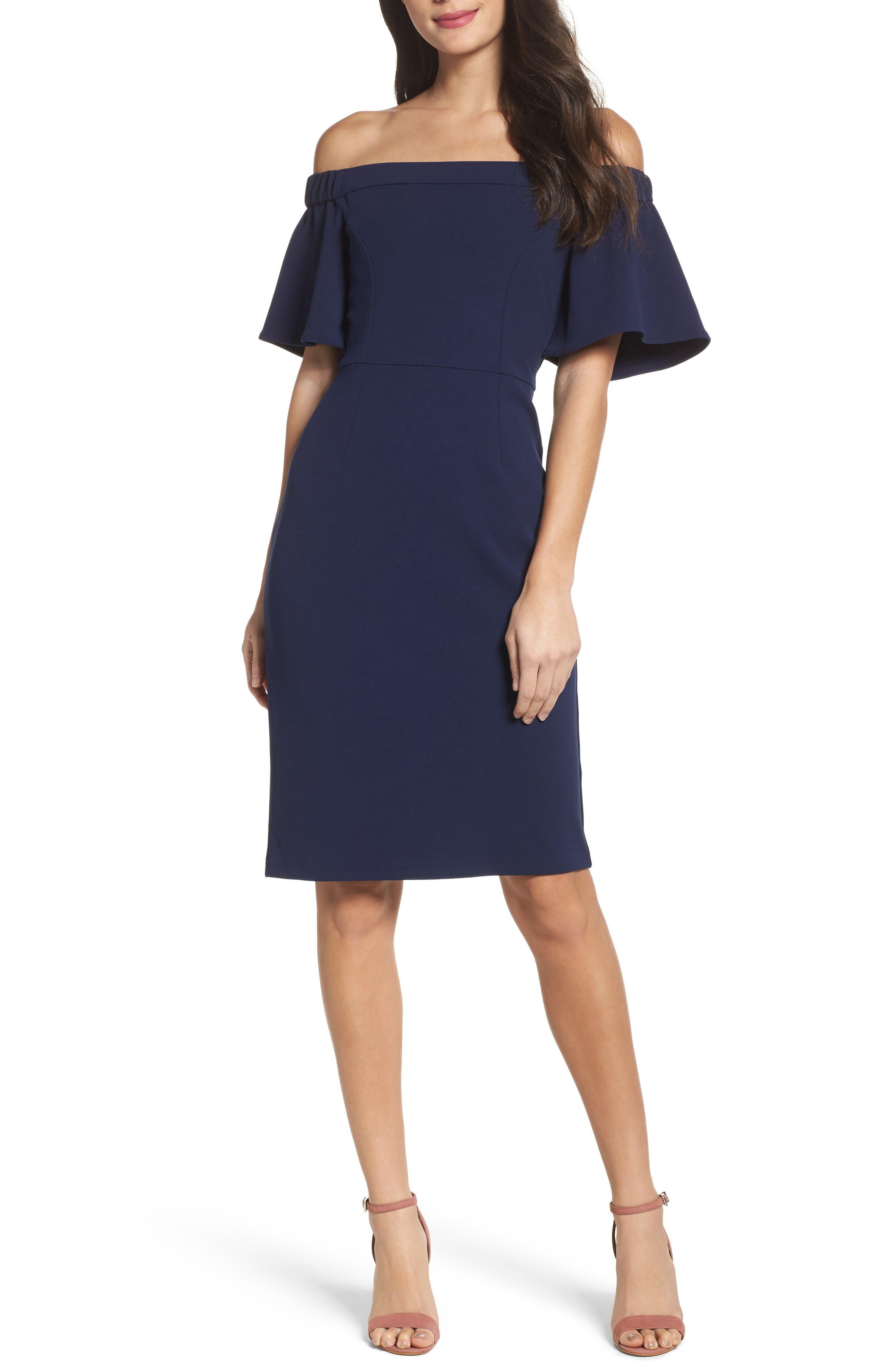 Off the Shoulder Sheath Dress,                         Main,                         color, 440
