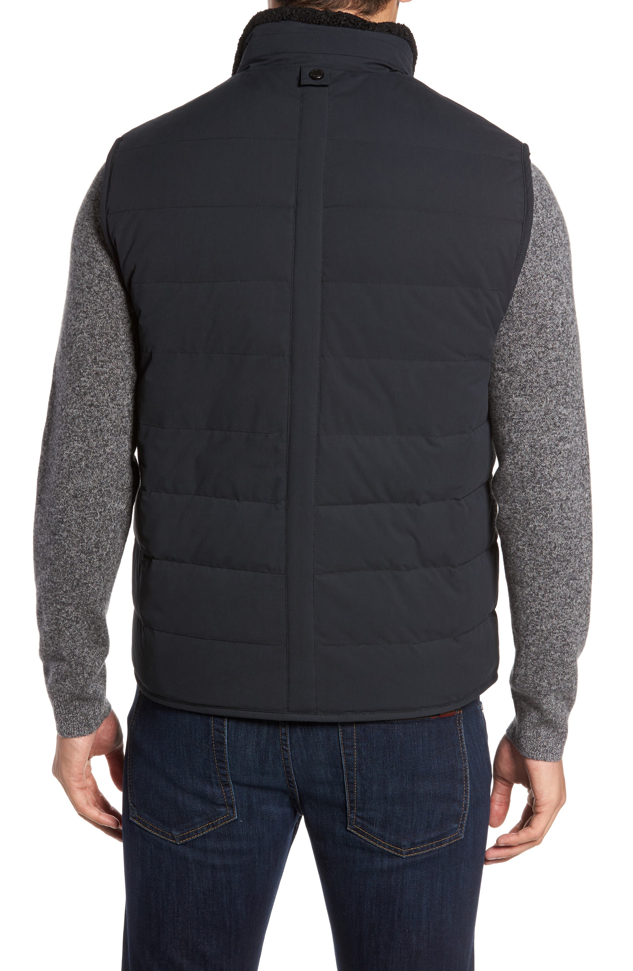 Quilted Down Vest with Faux Shearling Lining,                             Alternate thumbnail 2, color,
