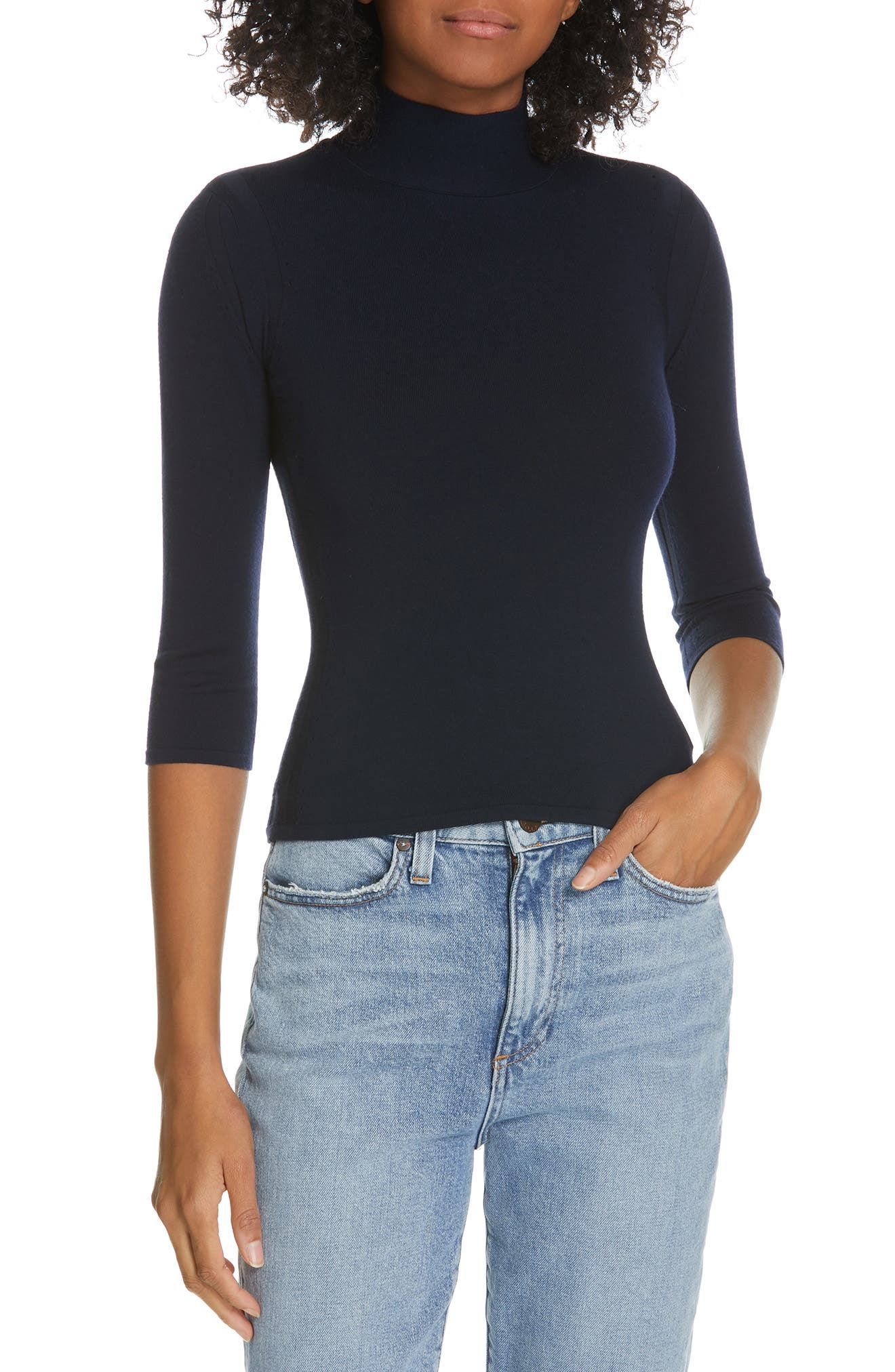 Fitted Merino Wool Blend Shell,                         Main,                         color, DEEP NAVY