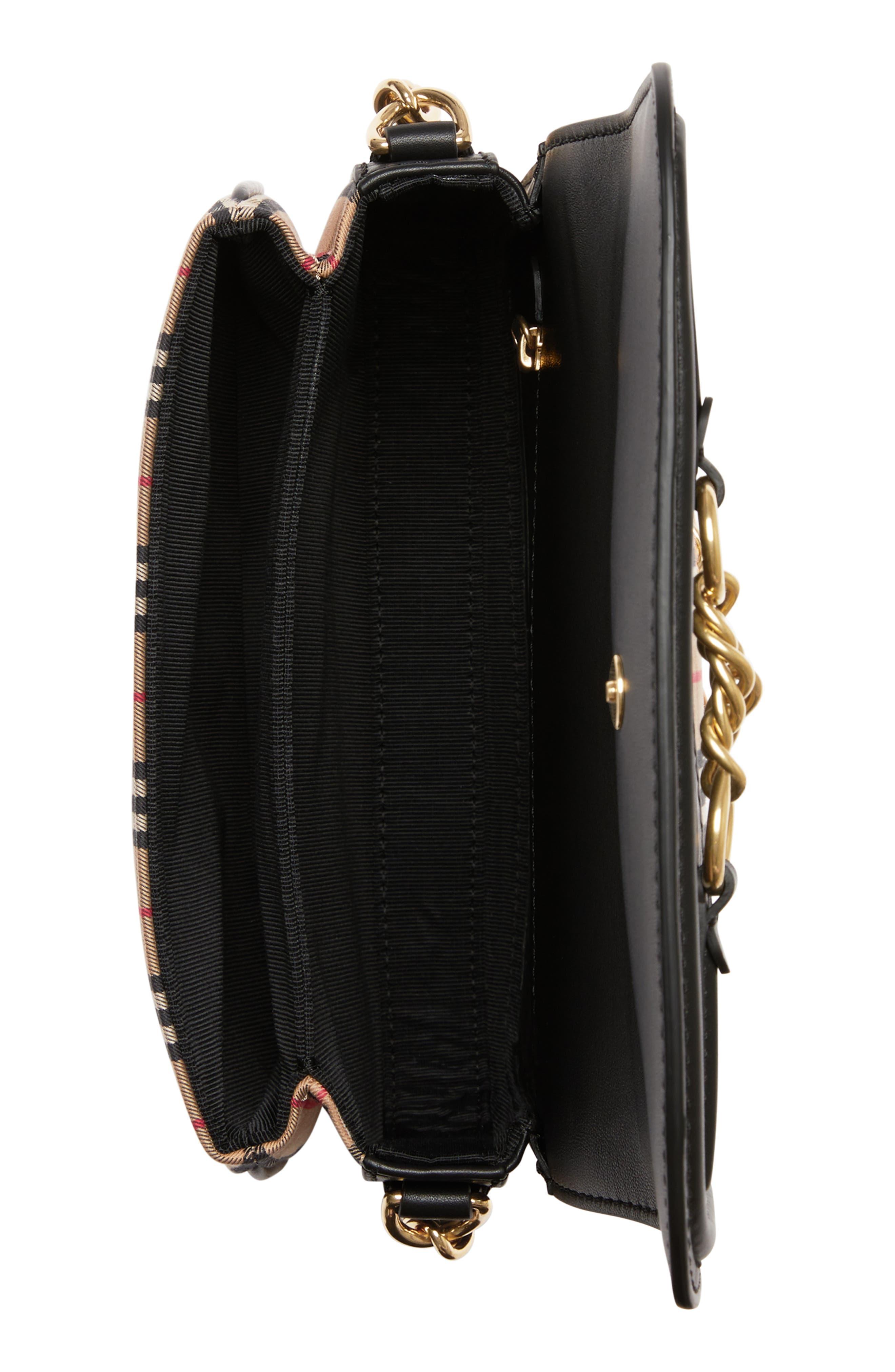 Vintage Check Link Flap Crossbody Bag,                             Alternate thumbnail 4, color,                             BLACK
