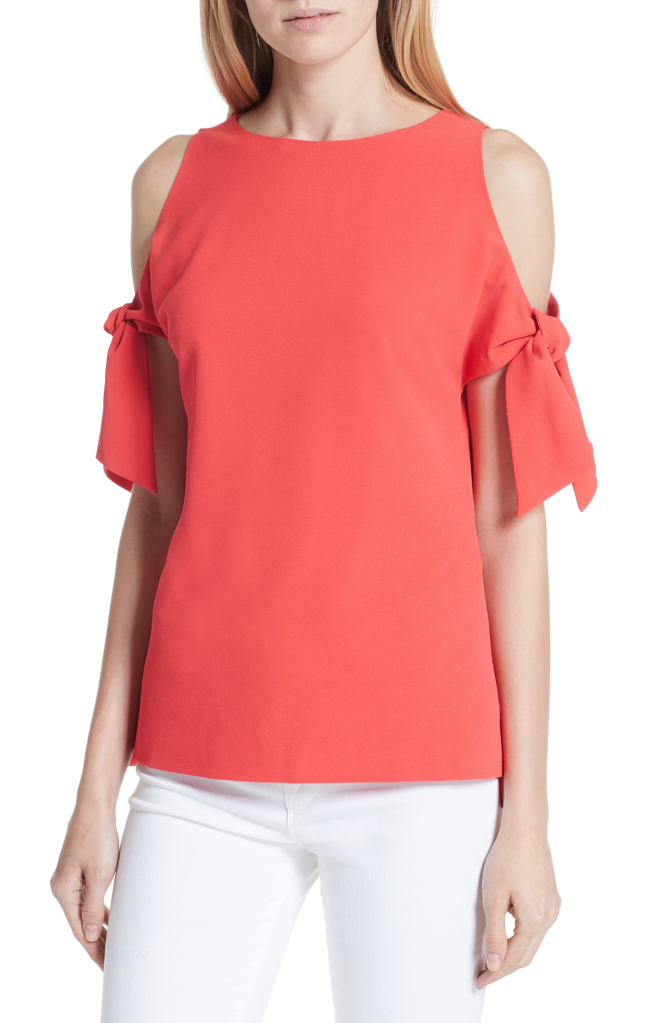 Yaele Cold Shoulder Top,                             Main thumbnail 1, color,                             BRIGHT RED