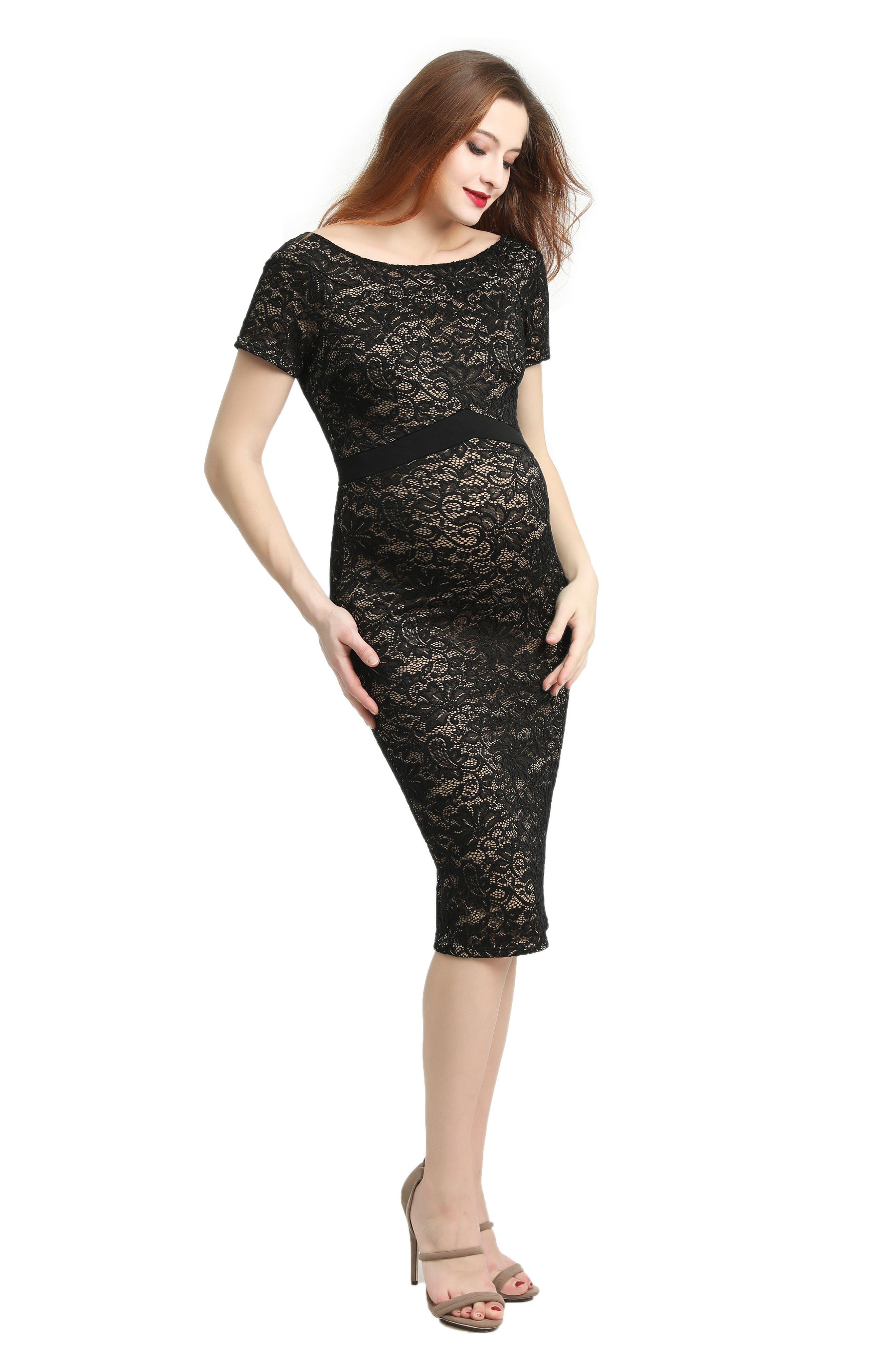 Kimi & Kai Lace Body-Con Maternity Dress,                             Alternate thumbnail 6, color,                             BLACK