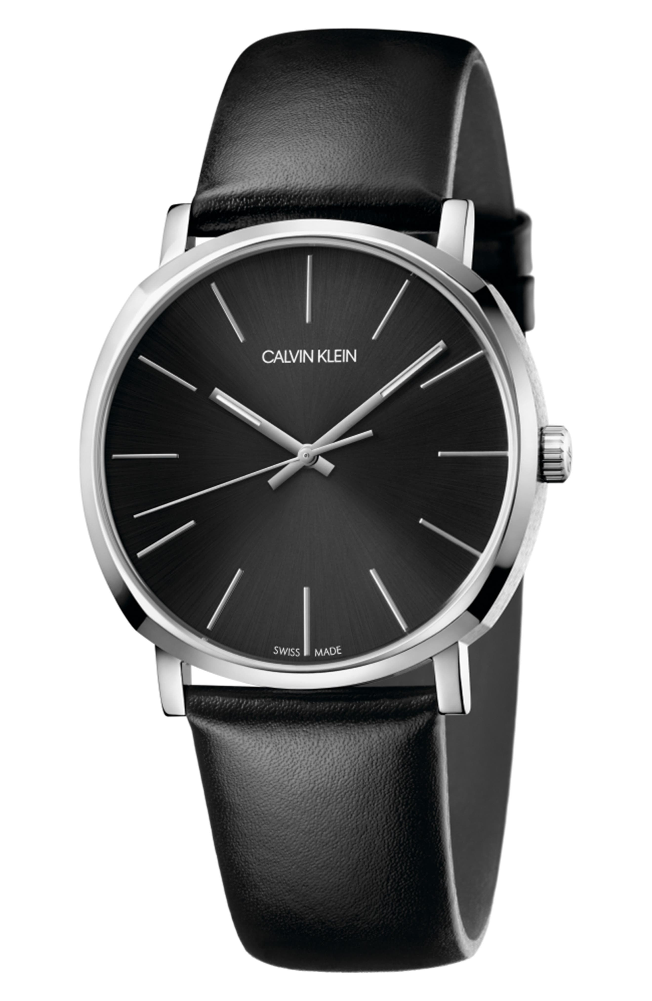 CALVIN KLEIN Posh Leather Band Watch, 40mm, Main, color, BLACK/ SILVER/ BLACK