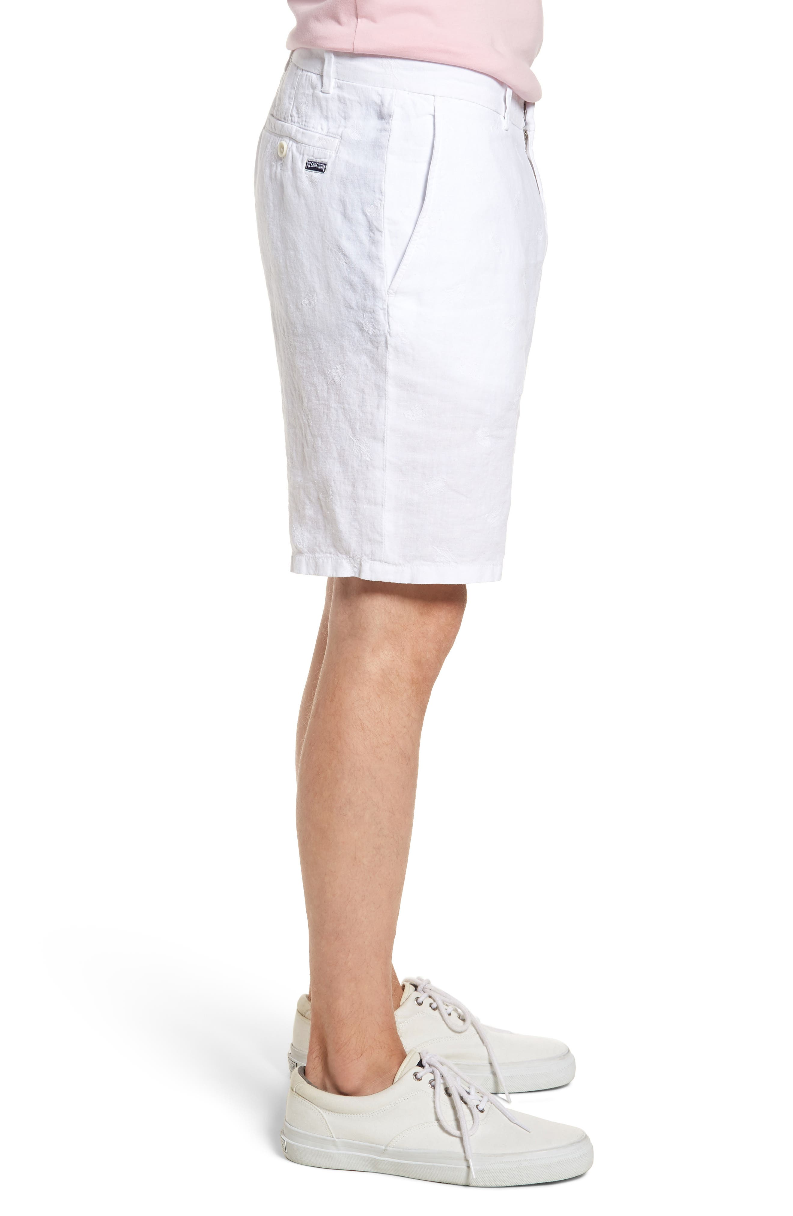 Embroidered Linen Blend Shorts,                             Alternate thumbnail 3, color,                             BLANC