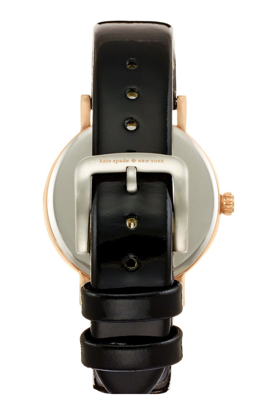 'metro' scallop dial leather strap watch, 34mm,                             Alternate thumbnail 2, color,                             001