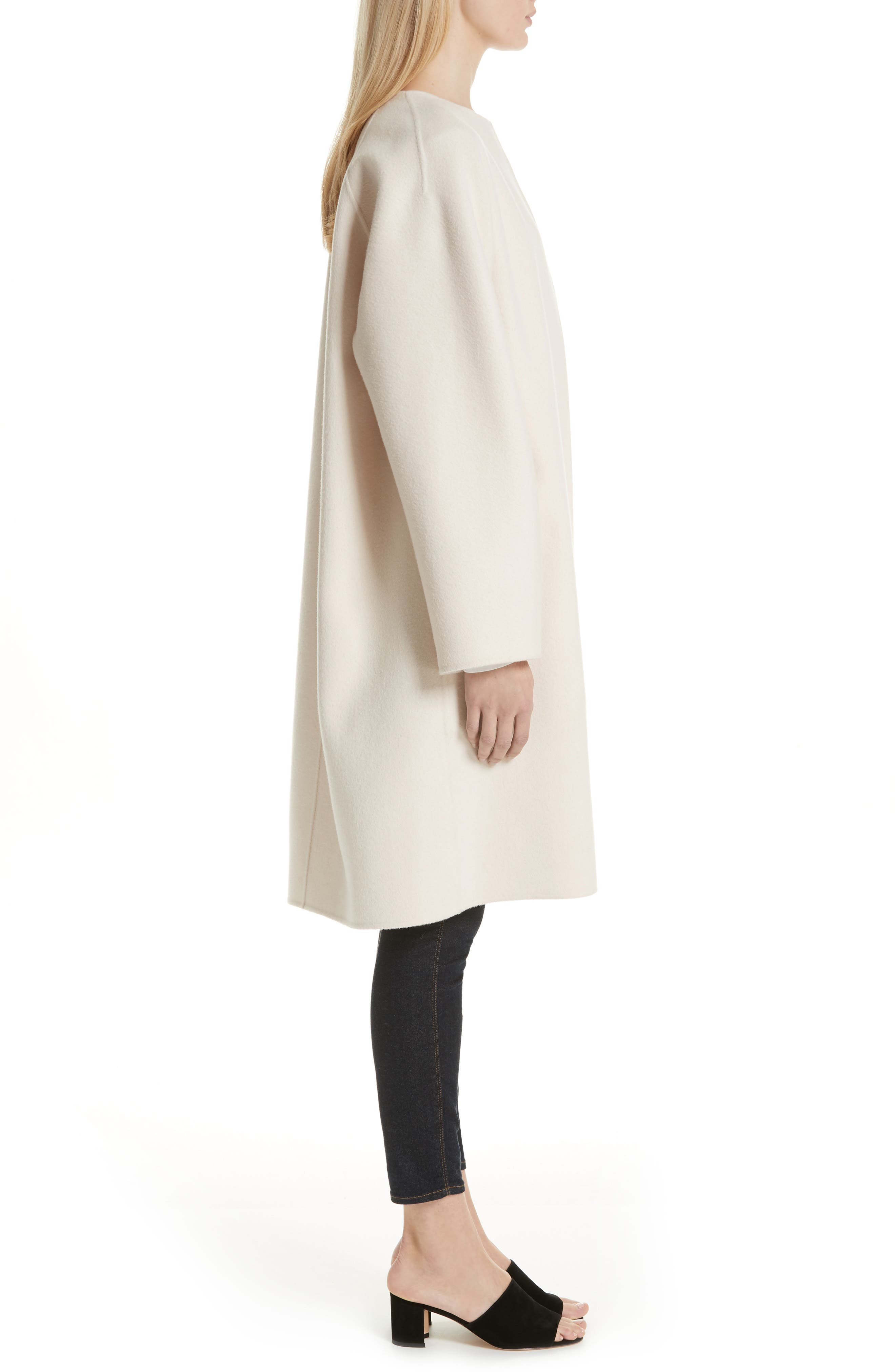 Rounded Double Face Wool & Cashmere Coat,                             Alternate thumbnail 3, color,                             900
