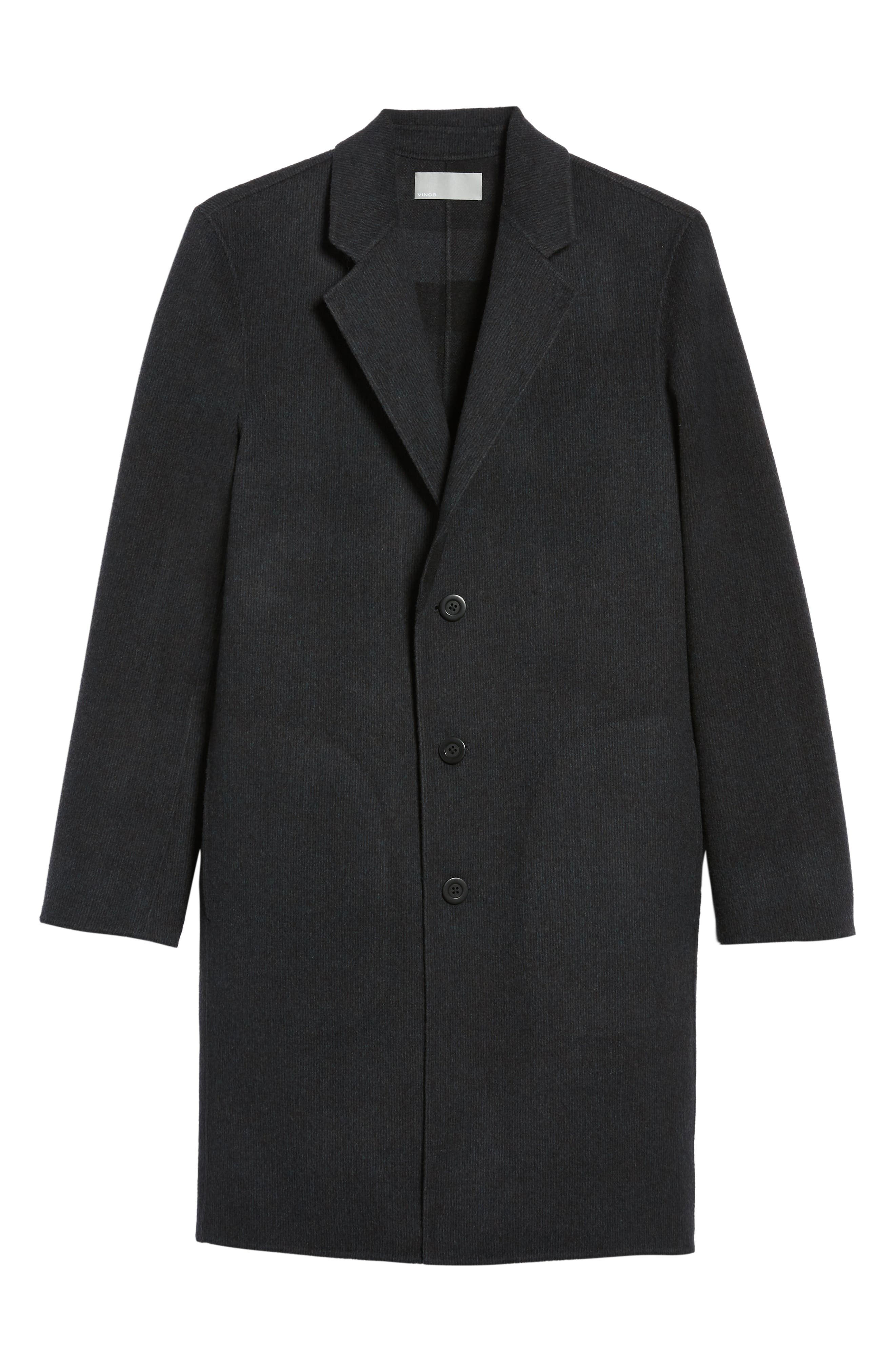 Wool Blend Car Coat,                             Alternate thumbnail 5, color,                             BLACK/ H CHARCOAL