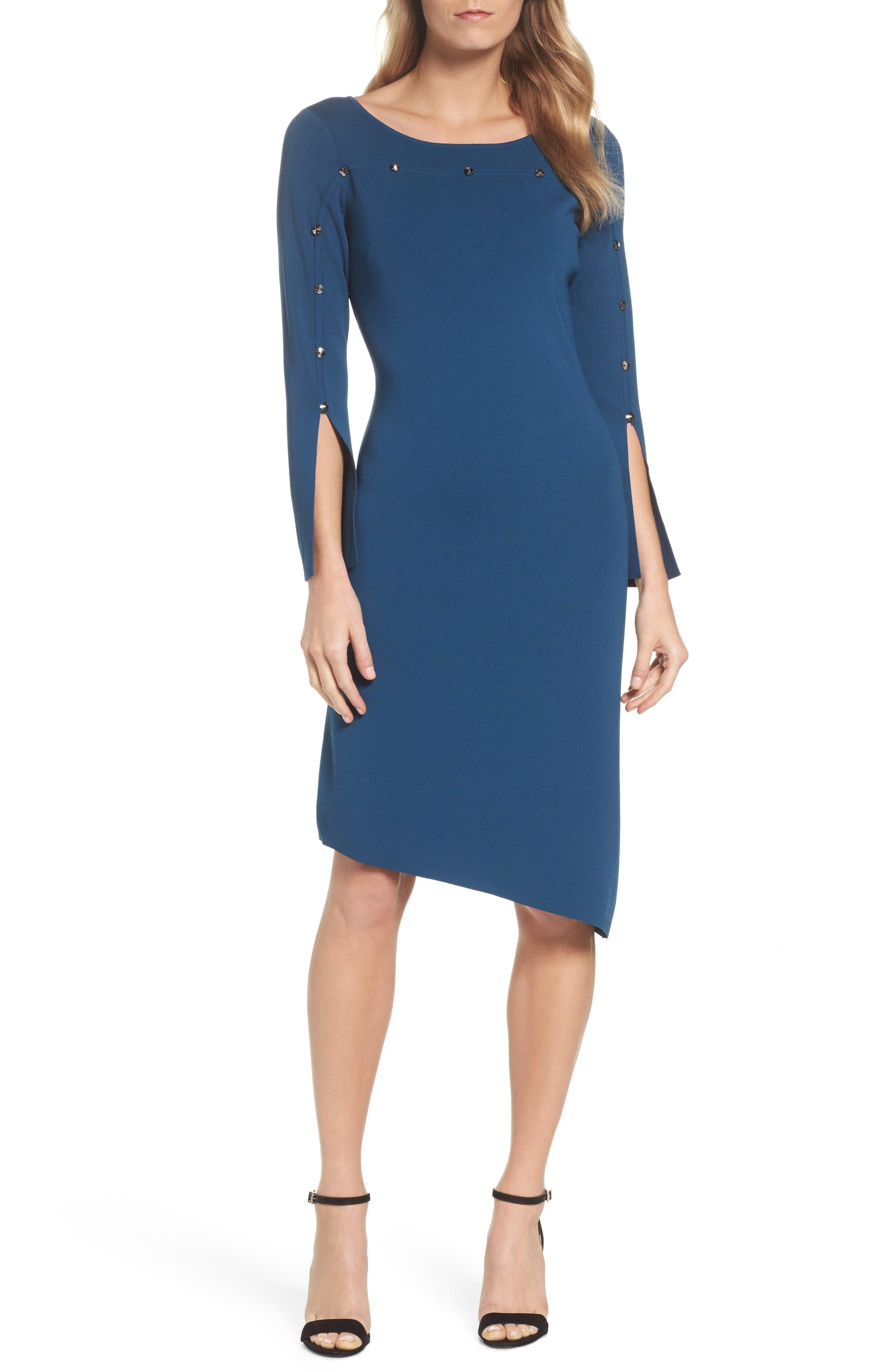 Studded Asymmetrical Dress,                             Main thumbnail 2, color,