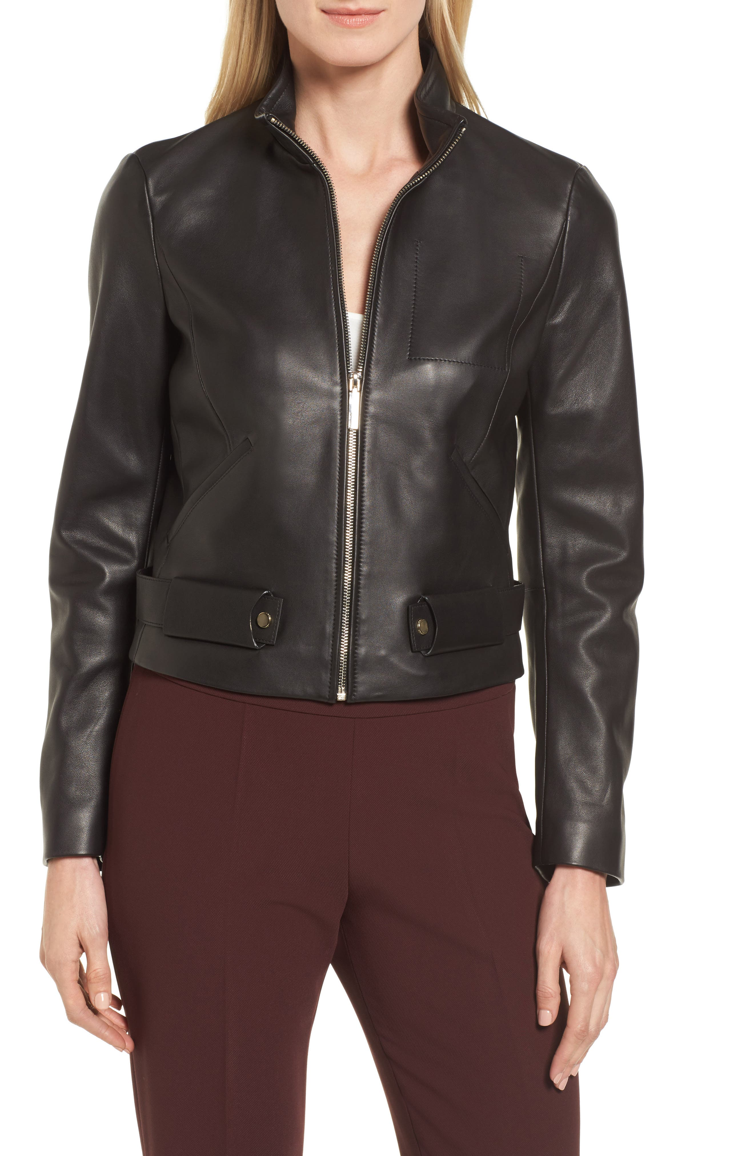 BOSS Sanuvo Leather Jacket, Main, color, 001