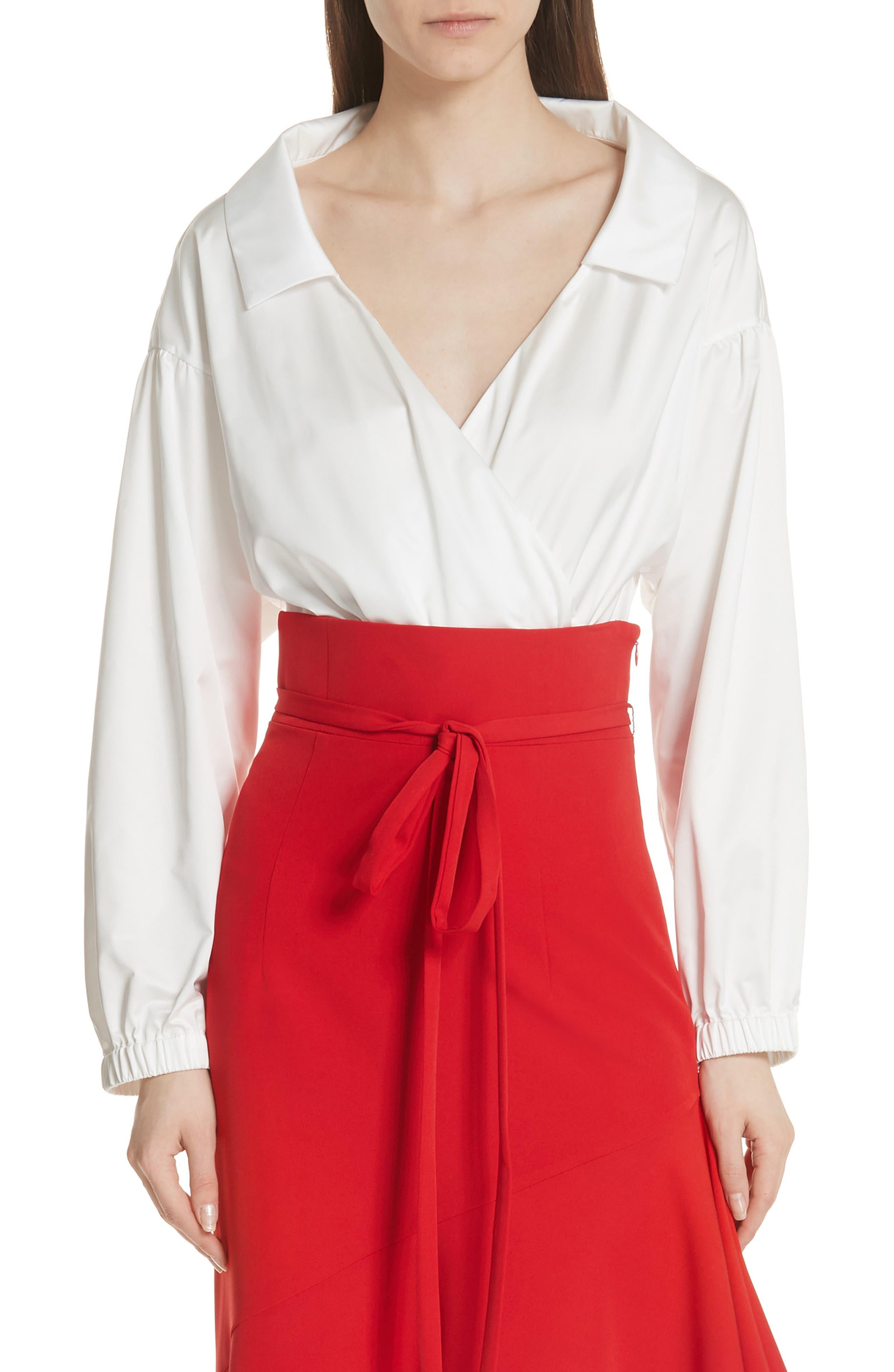 MILLY,                             Italian Duchess Taffeta Wrap Top Bodysuit,                             Main thumbnail 1, color,                             150