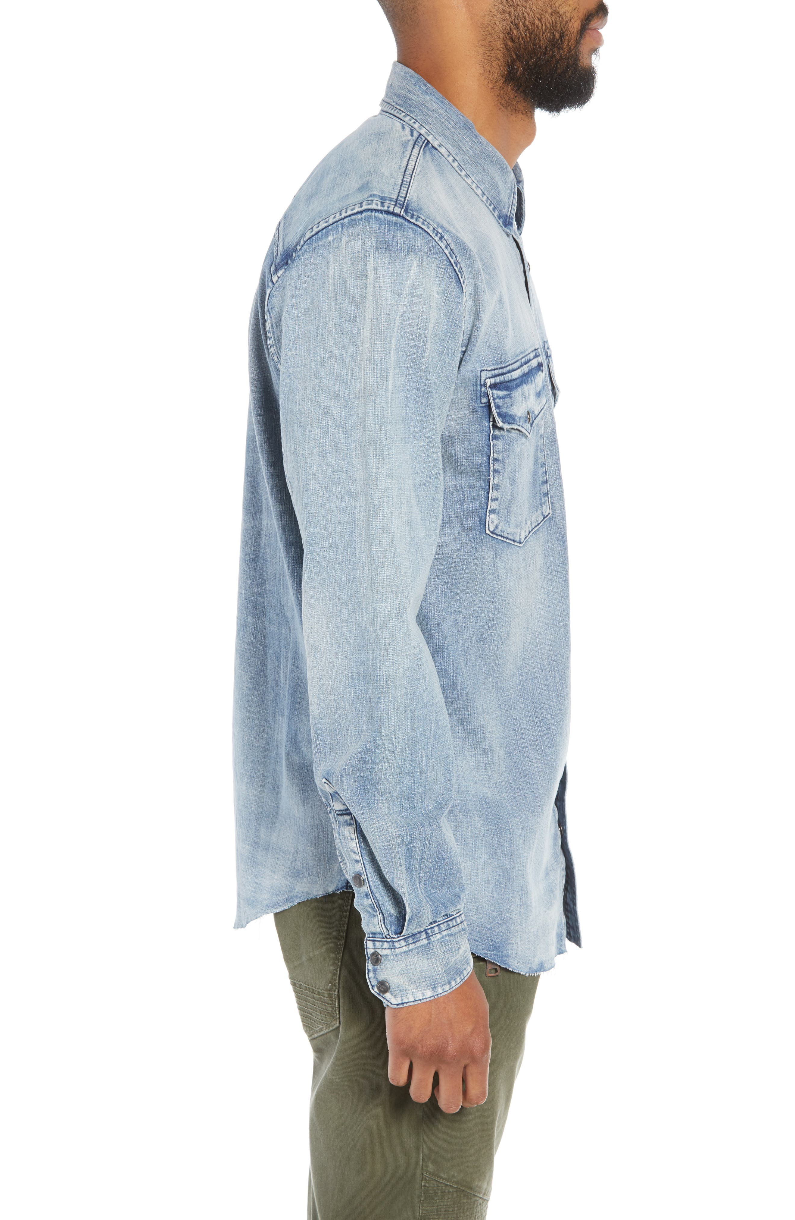 Hudson Regular Fit Denim Shirt,                             Alternate thumbnail 3, color,                             VINTAGE INDIGO