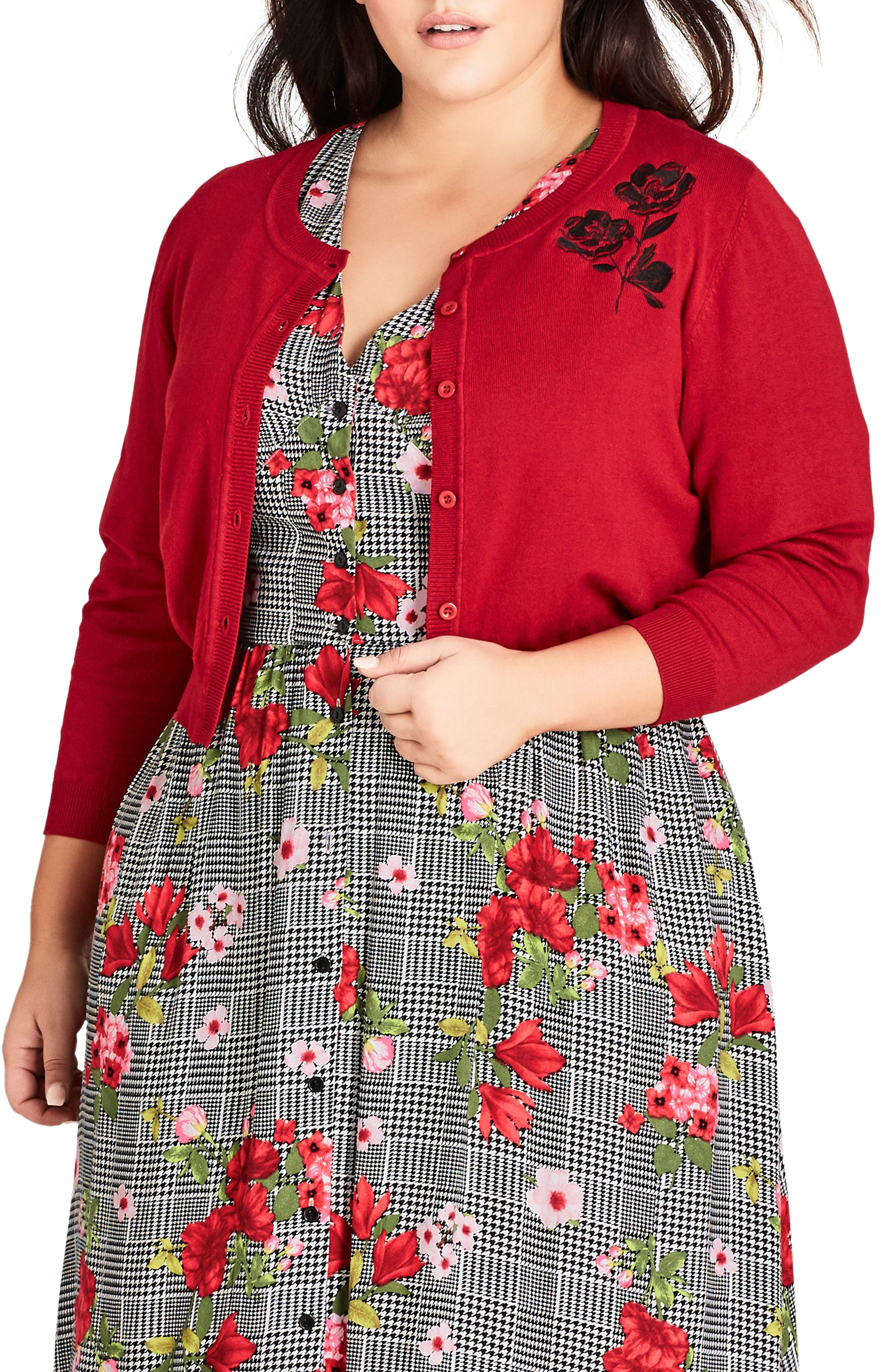 Authentic Natural 1950s Makeup History and Tutorial Plus Size Womens City Chic Cute Poppy Cardigan $35.40 AT vintagedancer.com