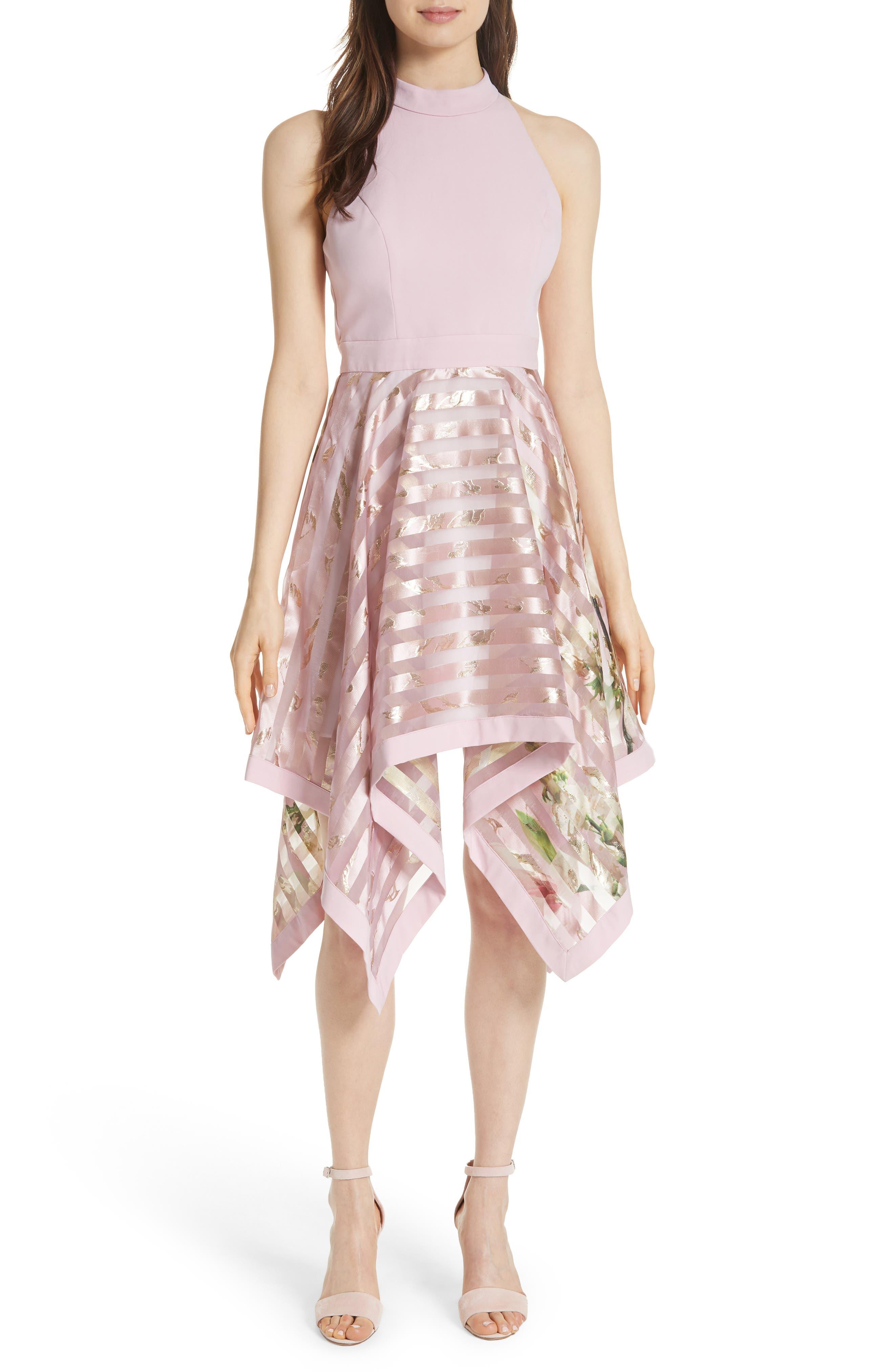 Harmony Burnout Metallic Stripe Dress,                             Main thumbnail 1, color,                             PALE PINK