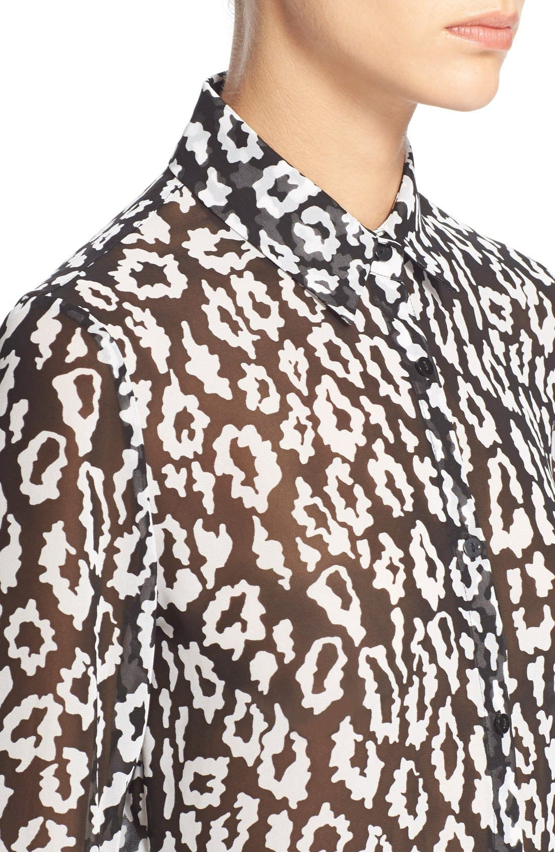 Leopard Print ChiffonShirt,                             Alternate thumbnail 4, color,                             005