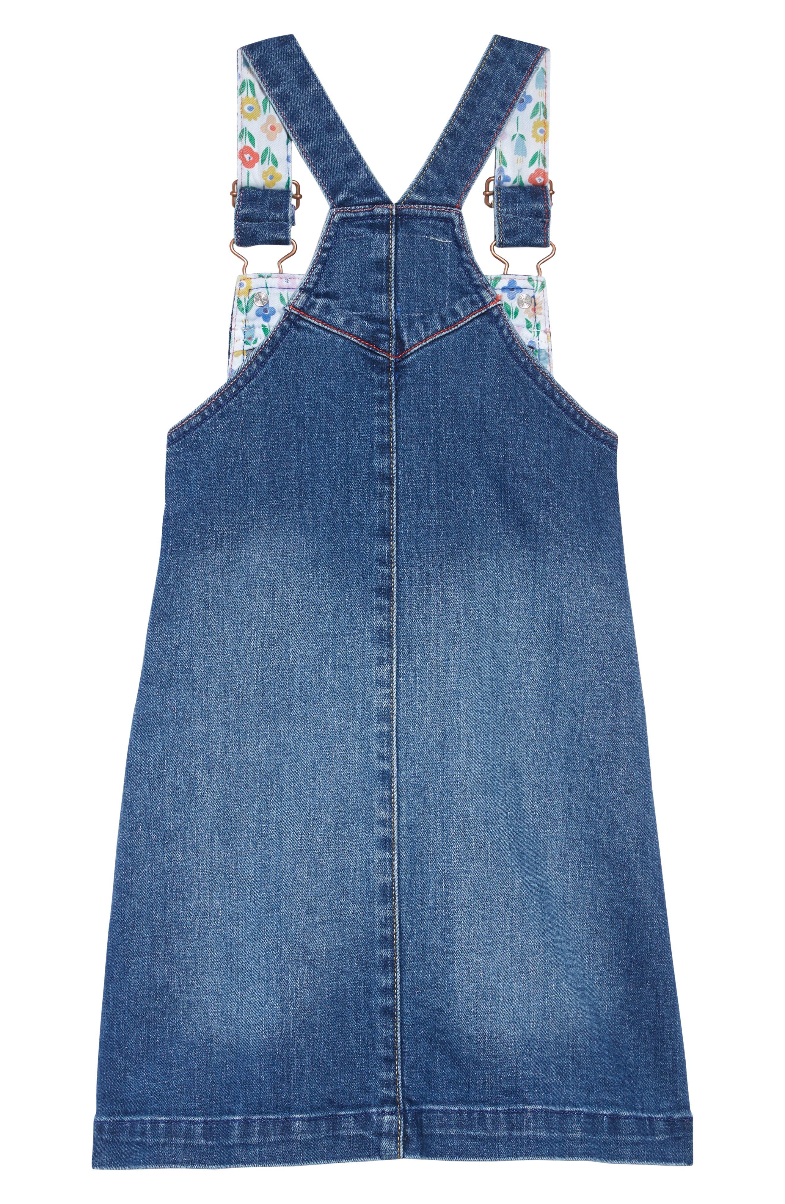 BODEN,                             Mini Boden Denim Dungaree Overall Dress,                             Alternate thumbnail 2, color,                             LIGHT VINTAGE BLUE RAINBOWS