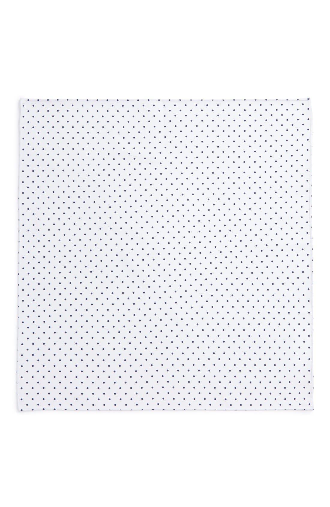 Polka Dot Cotton Pocket Square,                             Alternate thumbnail 2, color,                             WHITE