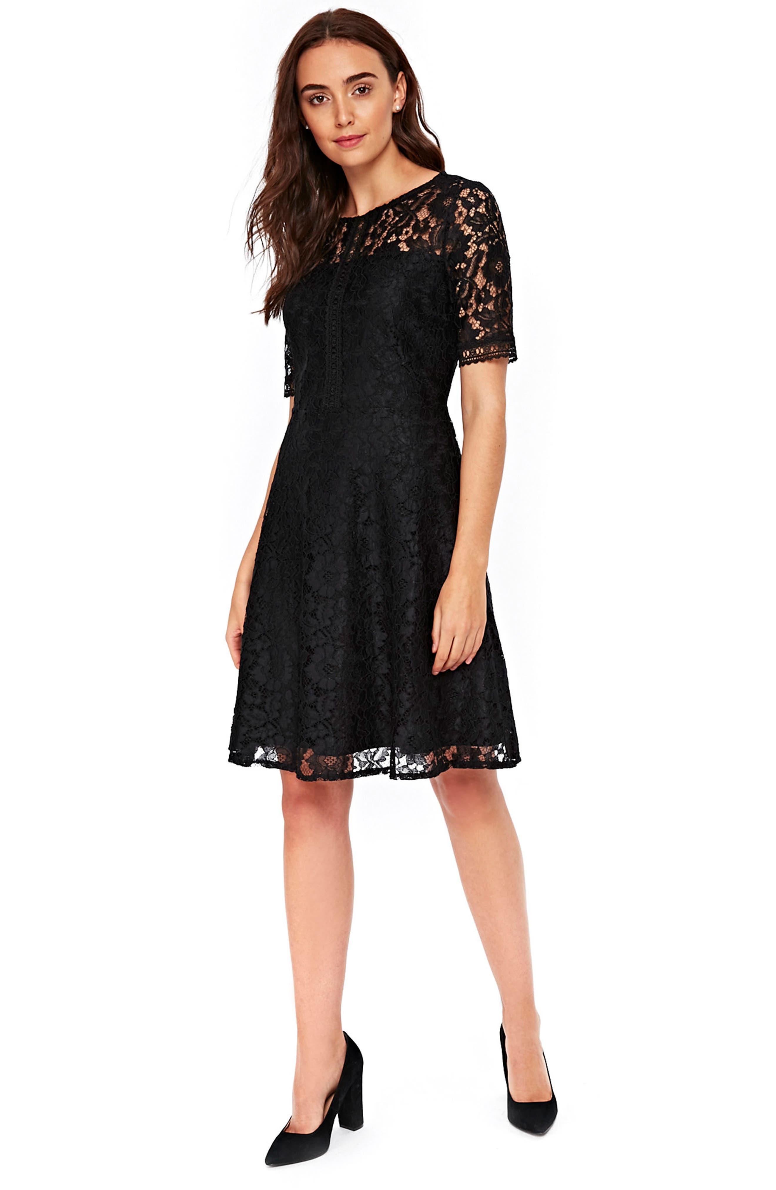 Lace & Lattice Fit & Flare Dress,                             Alternate thumbnail 4, color,                             001
