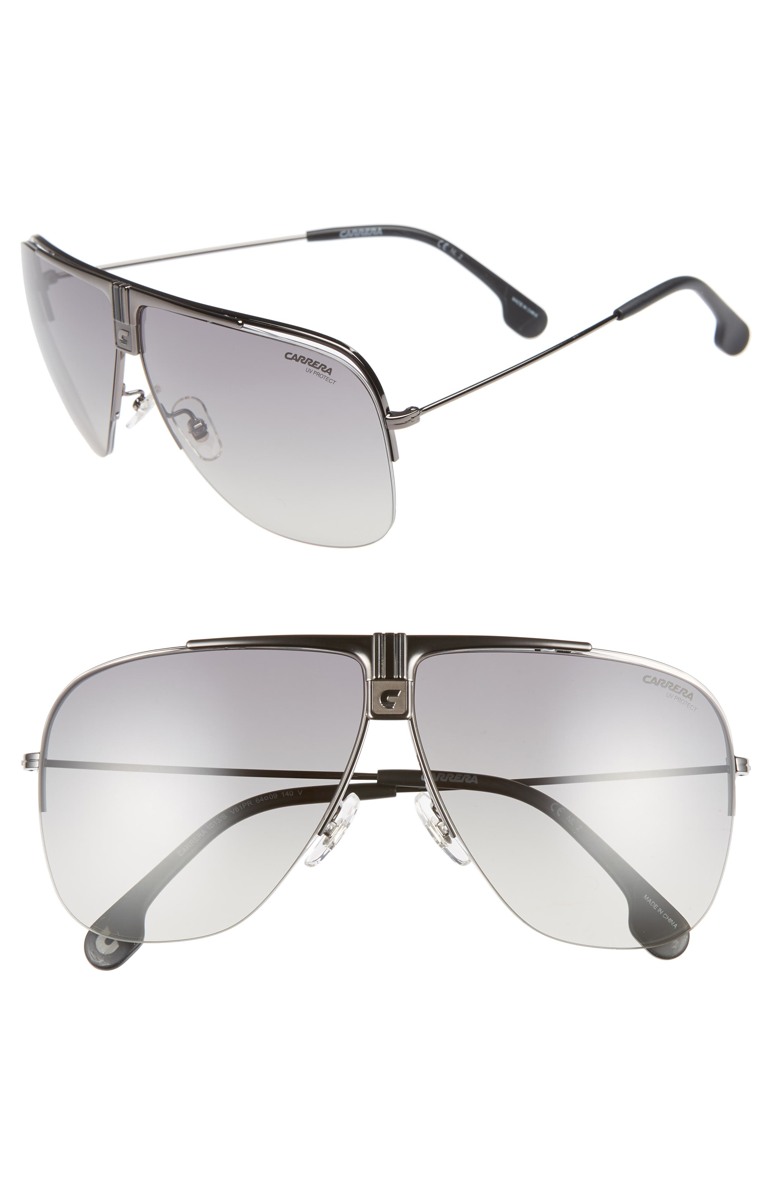 64mm Metal Aviator Sunglasses,                             Main thumbnail 1, color,                             DARK RUTHENIUM/ BLACK
