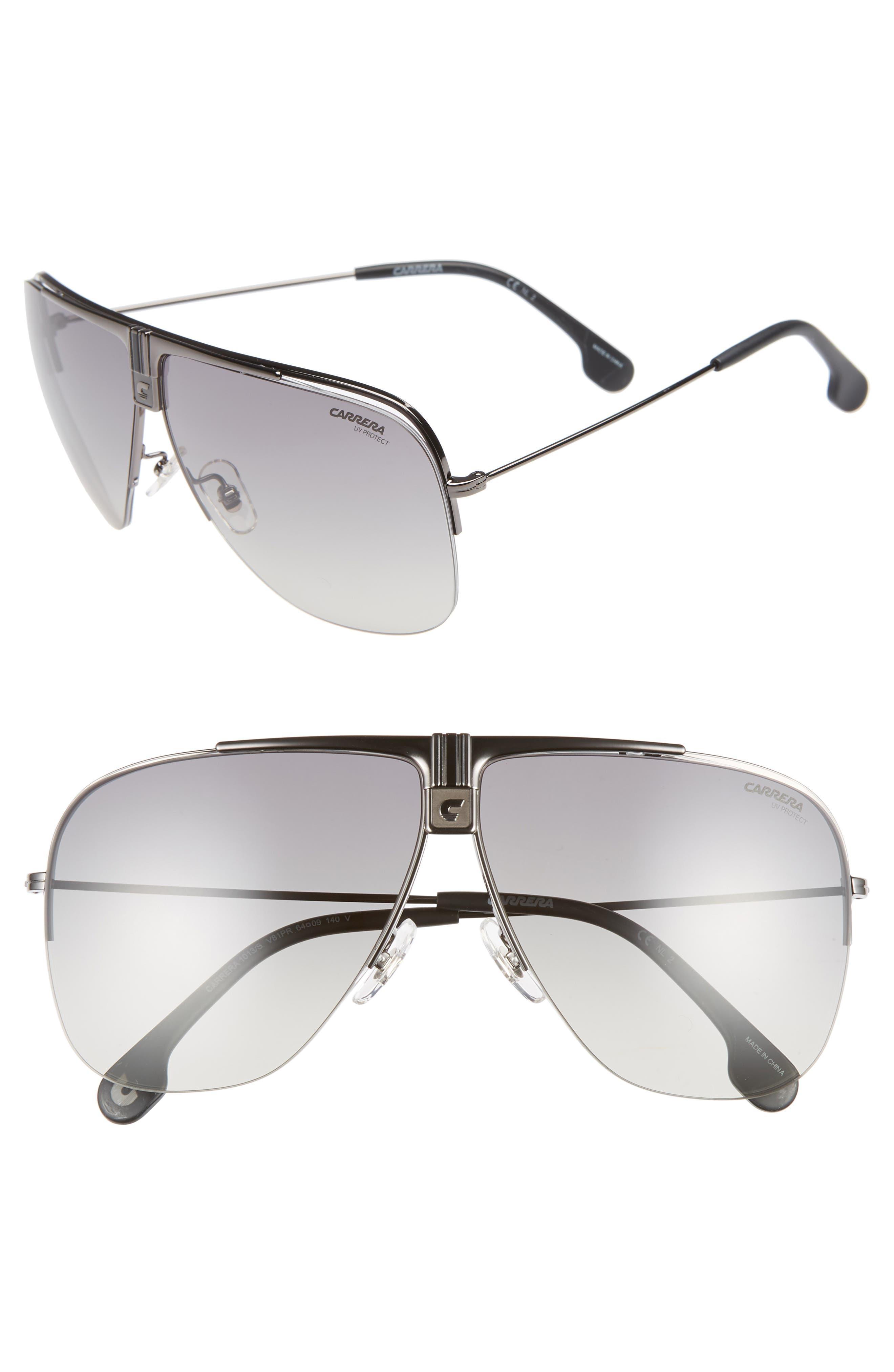 64mm Metal Aviator Sunglasses,                         Main,                         color, DARK RUTHENIUM/ BLACK