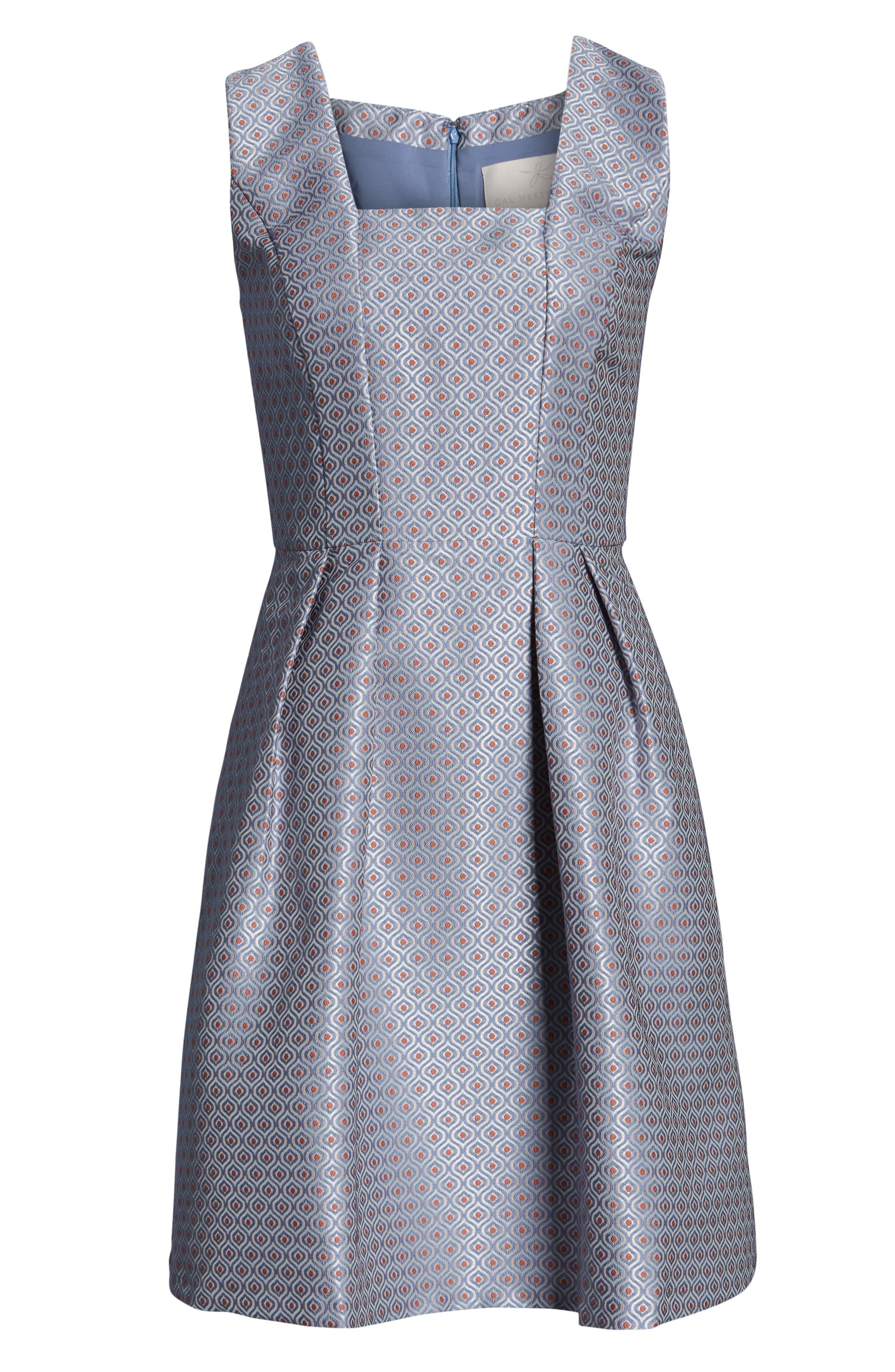 Cosette Jacquard Fit & Flare Dress,                             Alternate thumbnail 4, color,                             BLUE MULTI