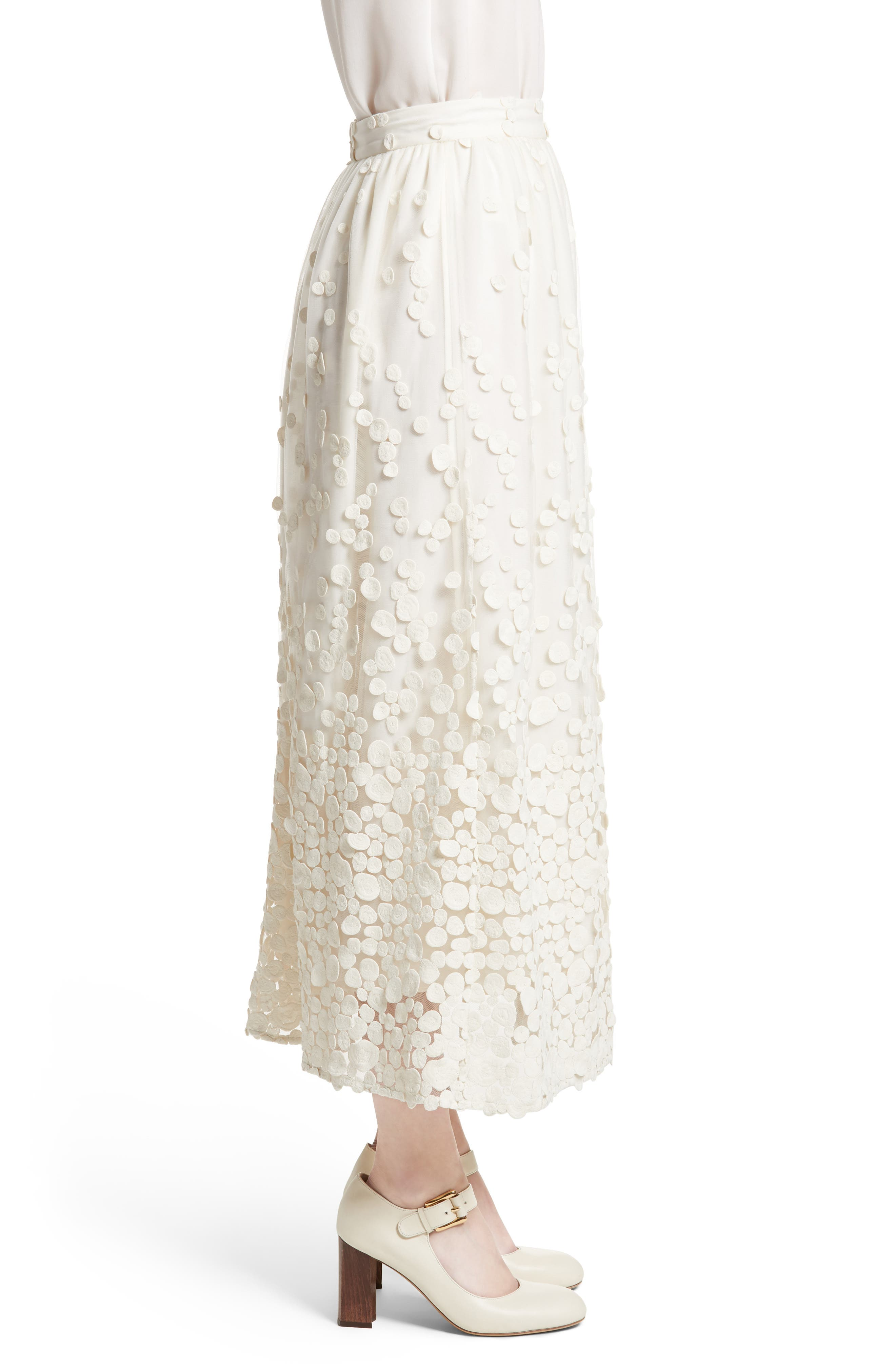 Pebbles Embroidered Mesh Midi Skirt,                             Alternate thumbnail 3, color,                             900