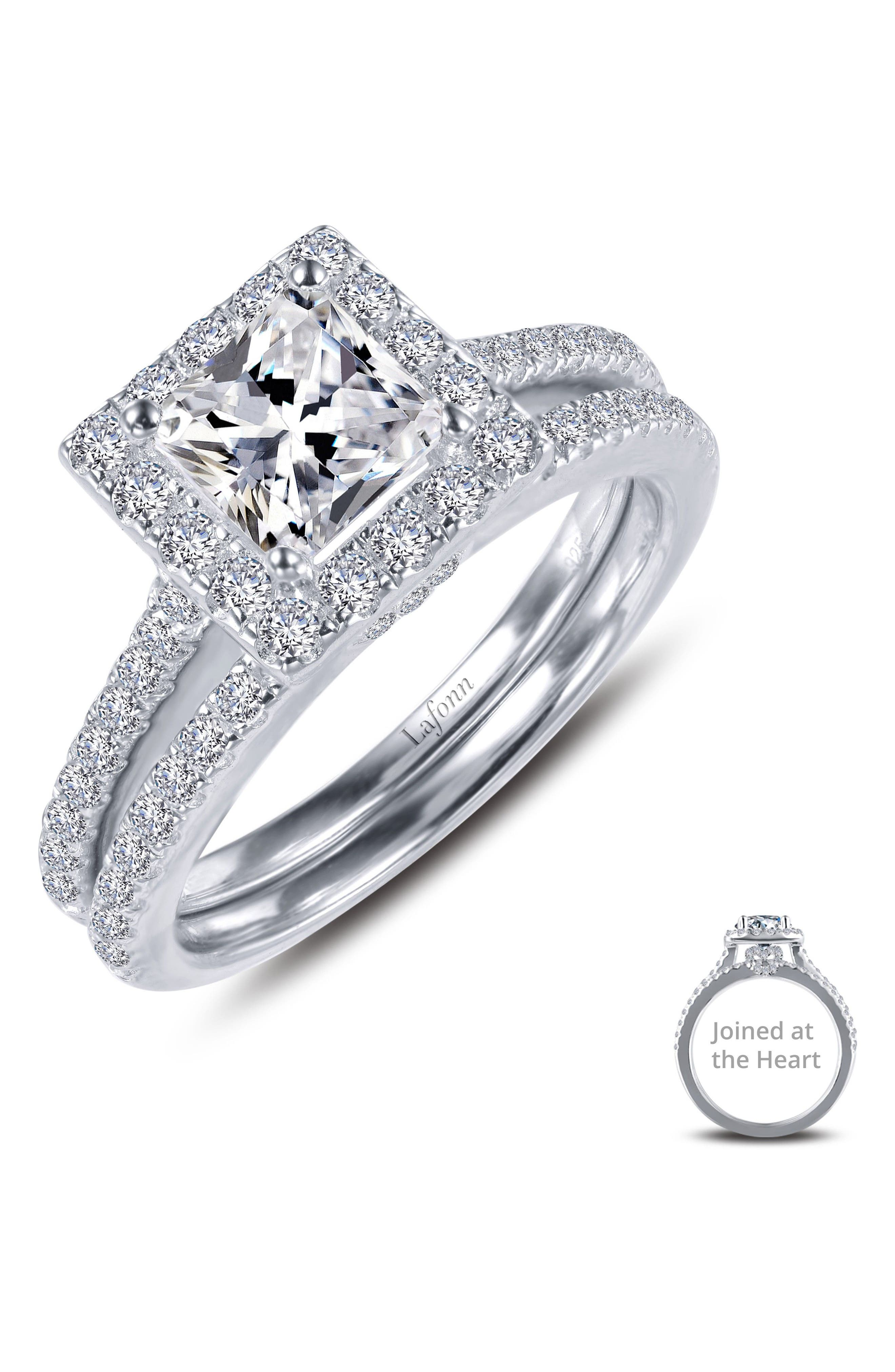 Joined at the Heart Cushion Cut Halo Wedding Ring Set,                             Alternate thumbnail 3, color,                             SILVER/ CLEAR