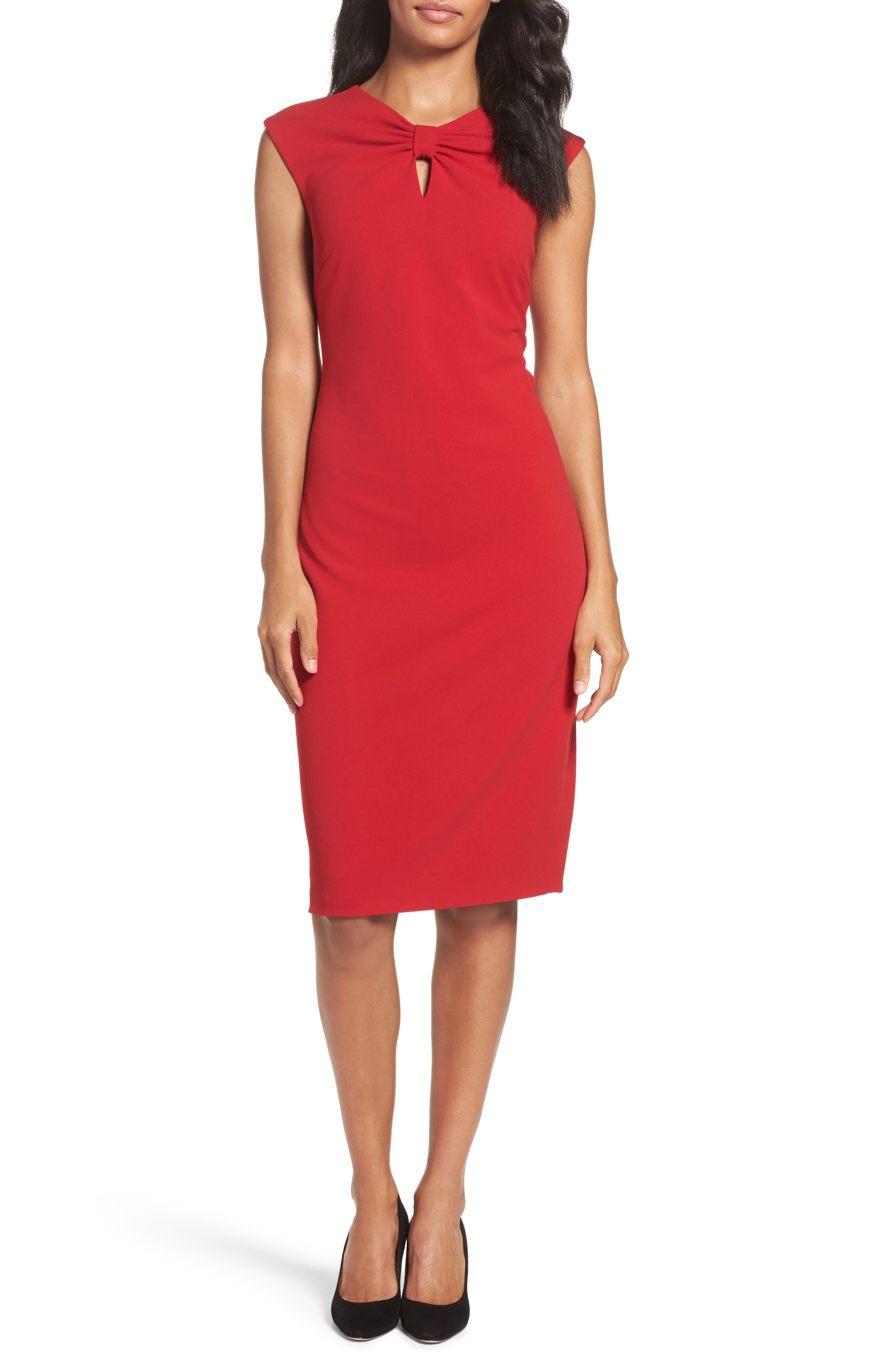 Knotted Scuba Sheath Dress,                             Alternate thumbnail 5, color,                             600