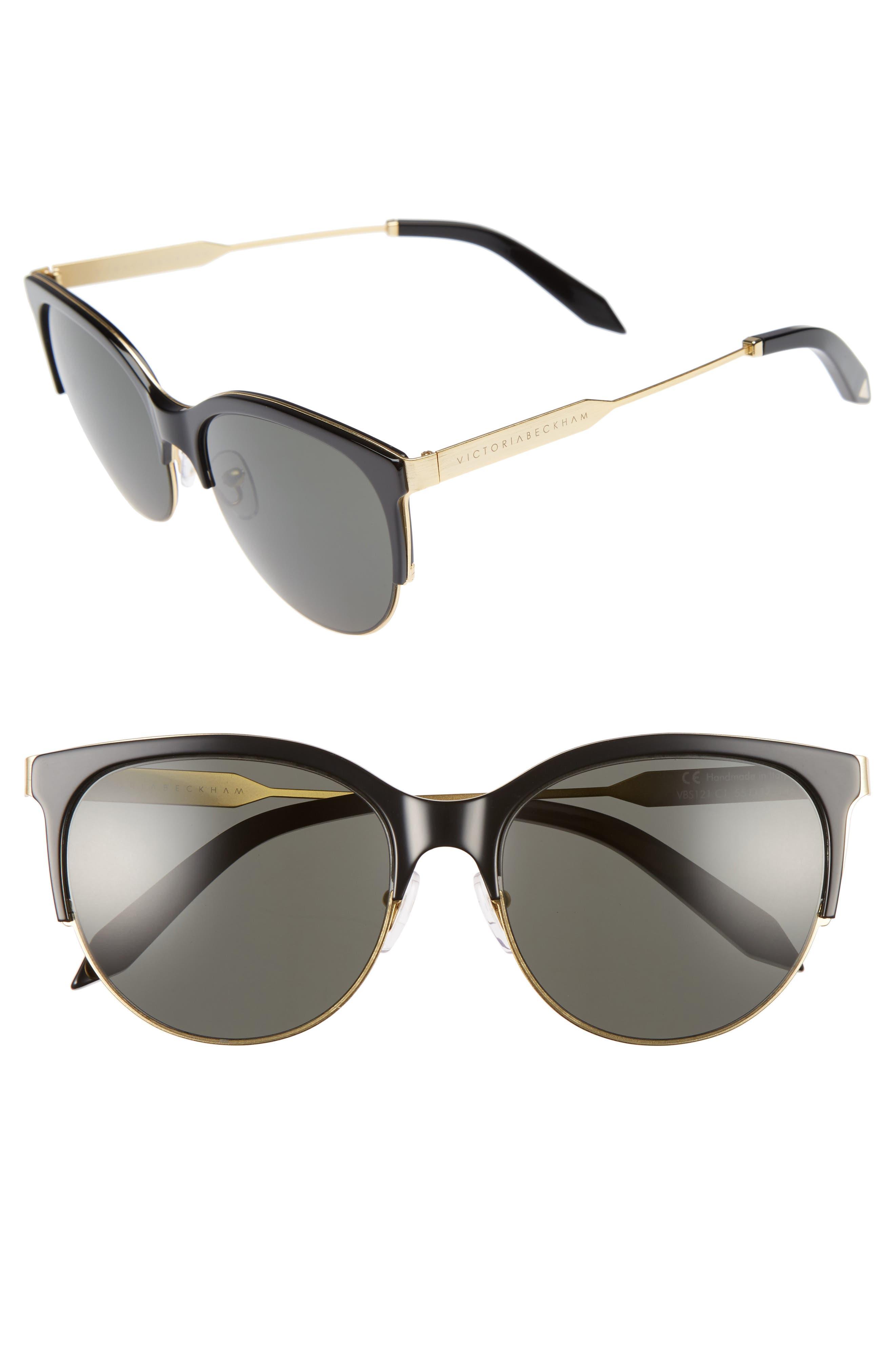 Layered Combination Kitten 55mm Sunglasses,                             Main thumbnail 1, color,                             001