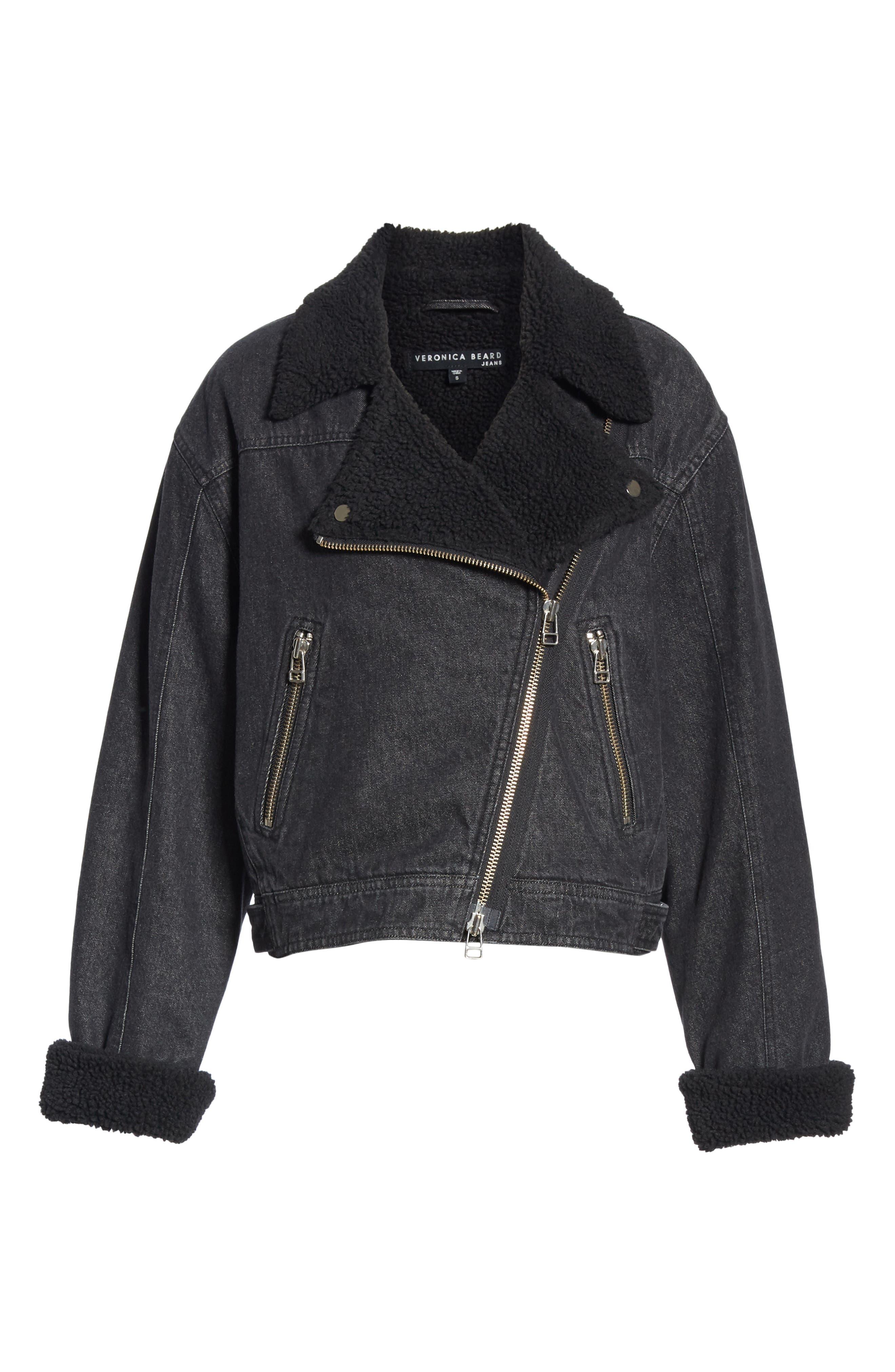 Rosina Faux Shearling Lined Denim Biker Jacket,                             Alternate thumbnail 5, color,                             002