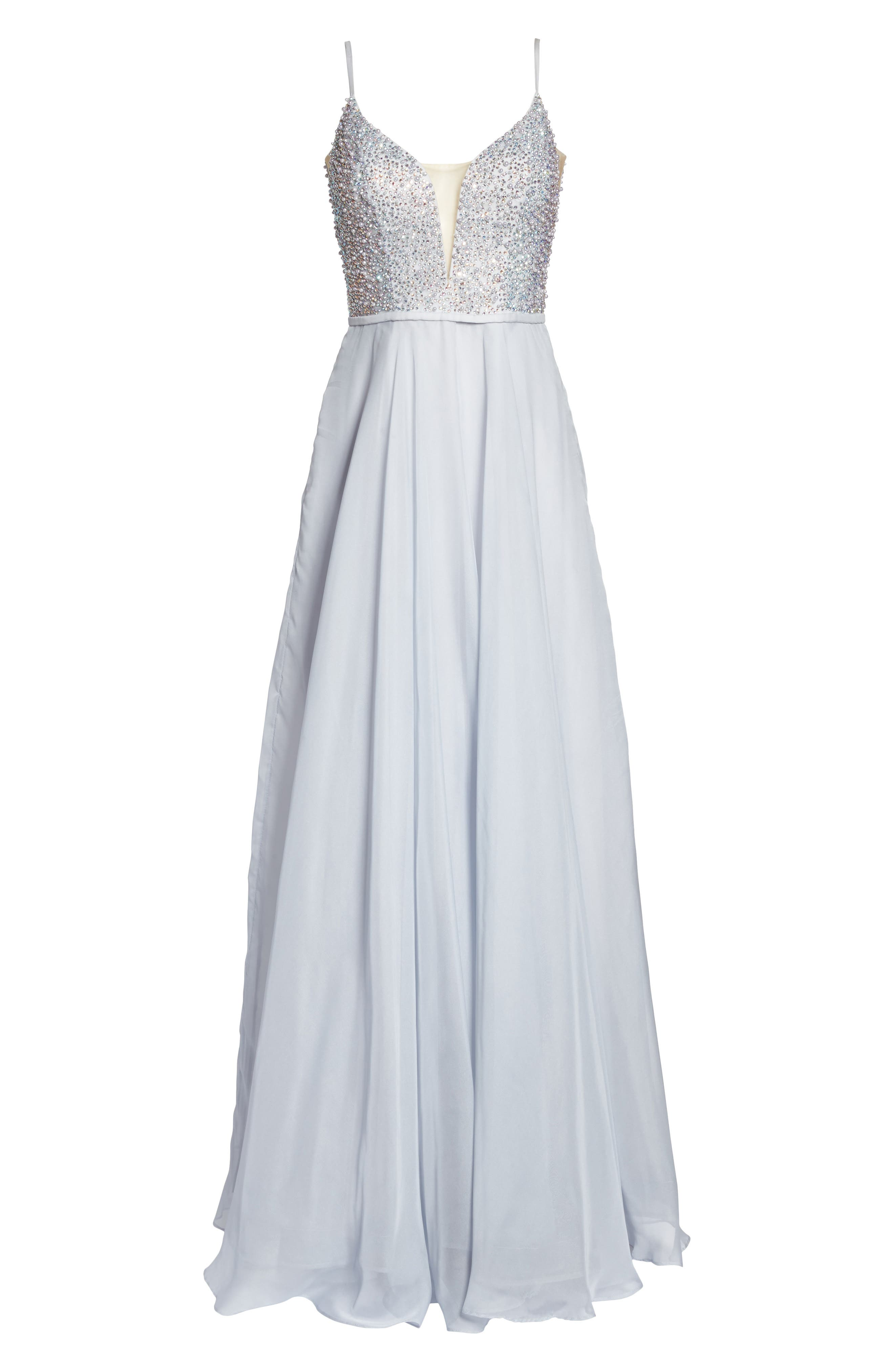 Beaded Chiffon Gown,                             Alternate thumbnail 6, color,                             040