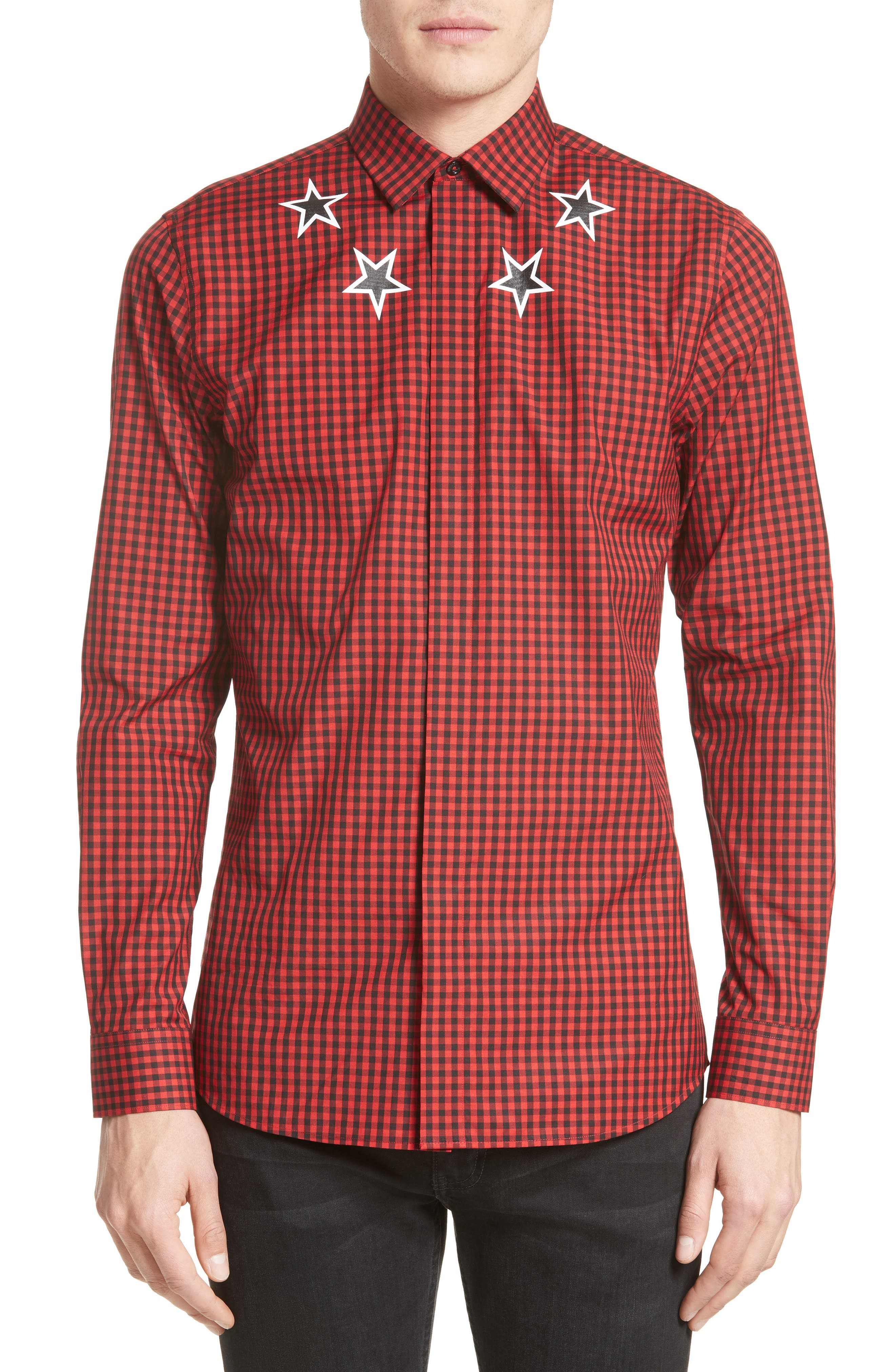 Extra Trim Fit Star Gingham Sport Shirt,                         Main,                         color, 600