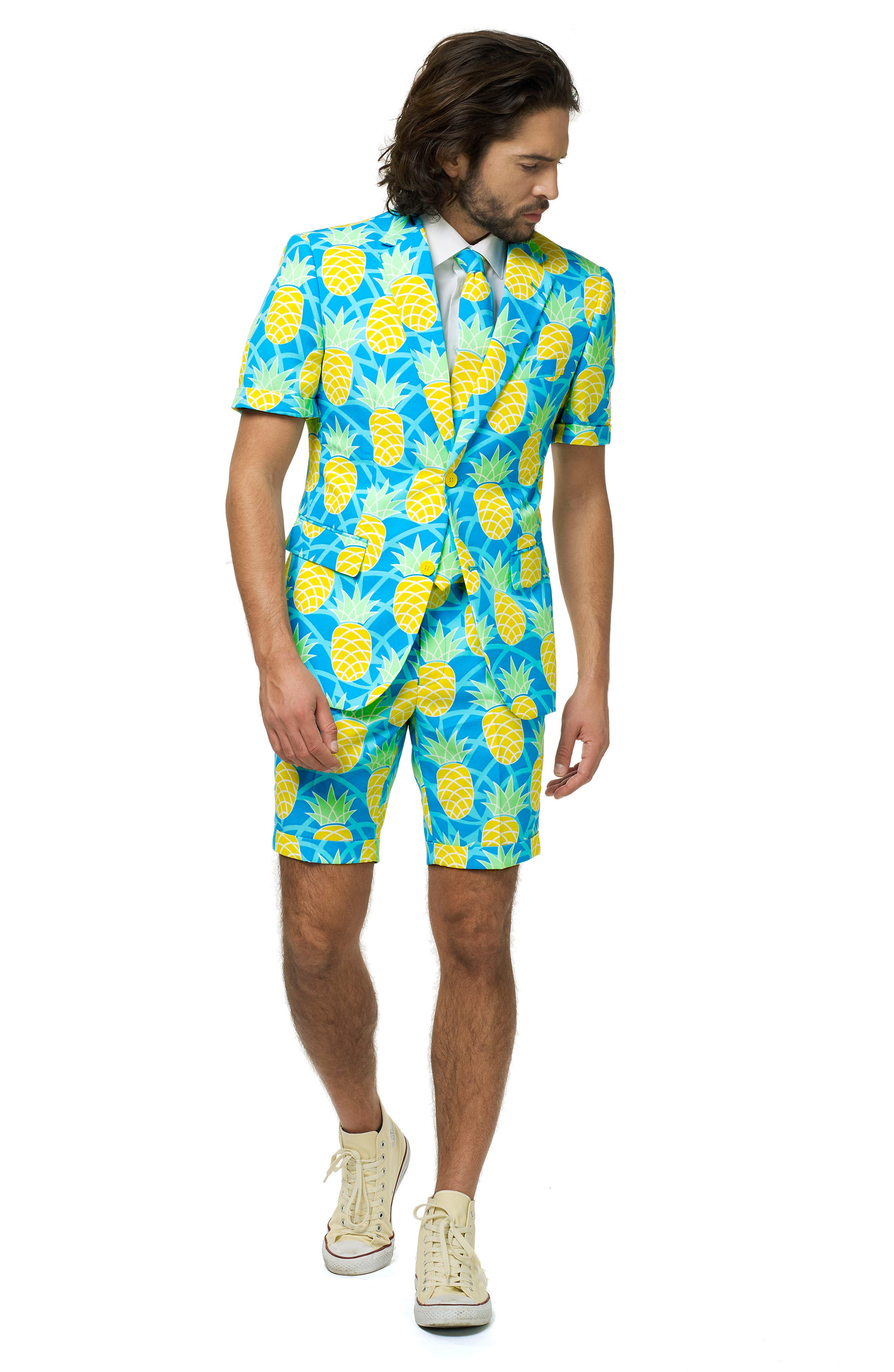 Shineapple Trim Fit Two-Piece Short Suit with Tie,                             Alternate thumbnail 4, color,                             400