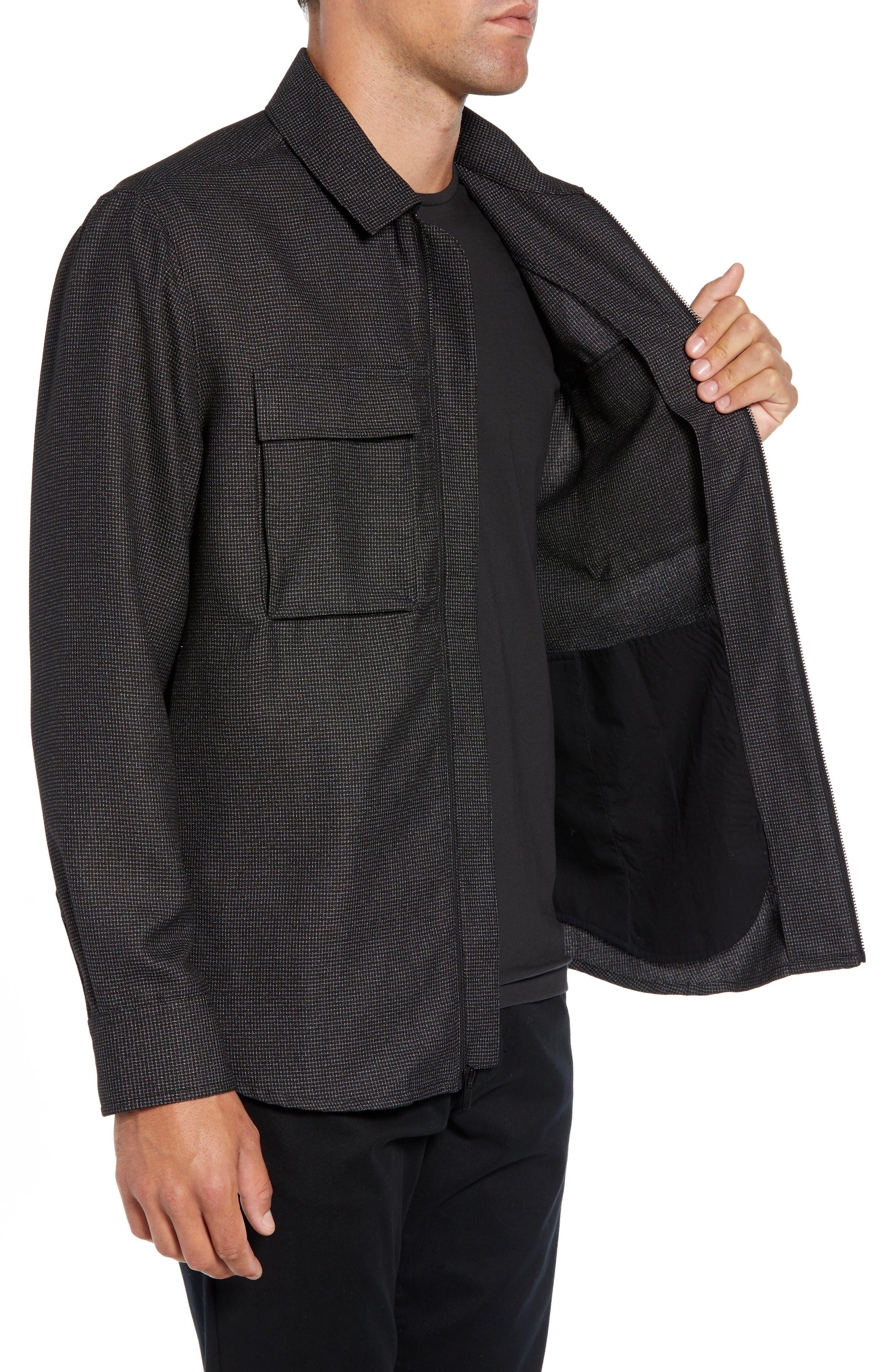 Grid Zip Shirt Jacket,                             Alternate thumbnail 3, color,                             BLACK WHITE GRID
