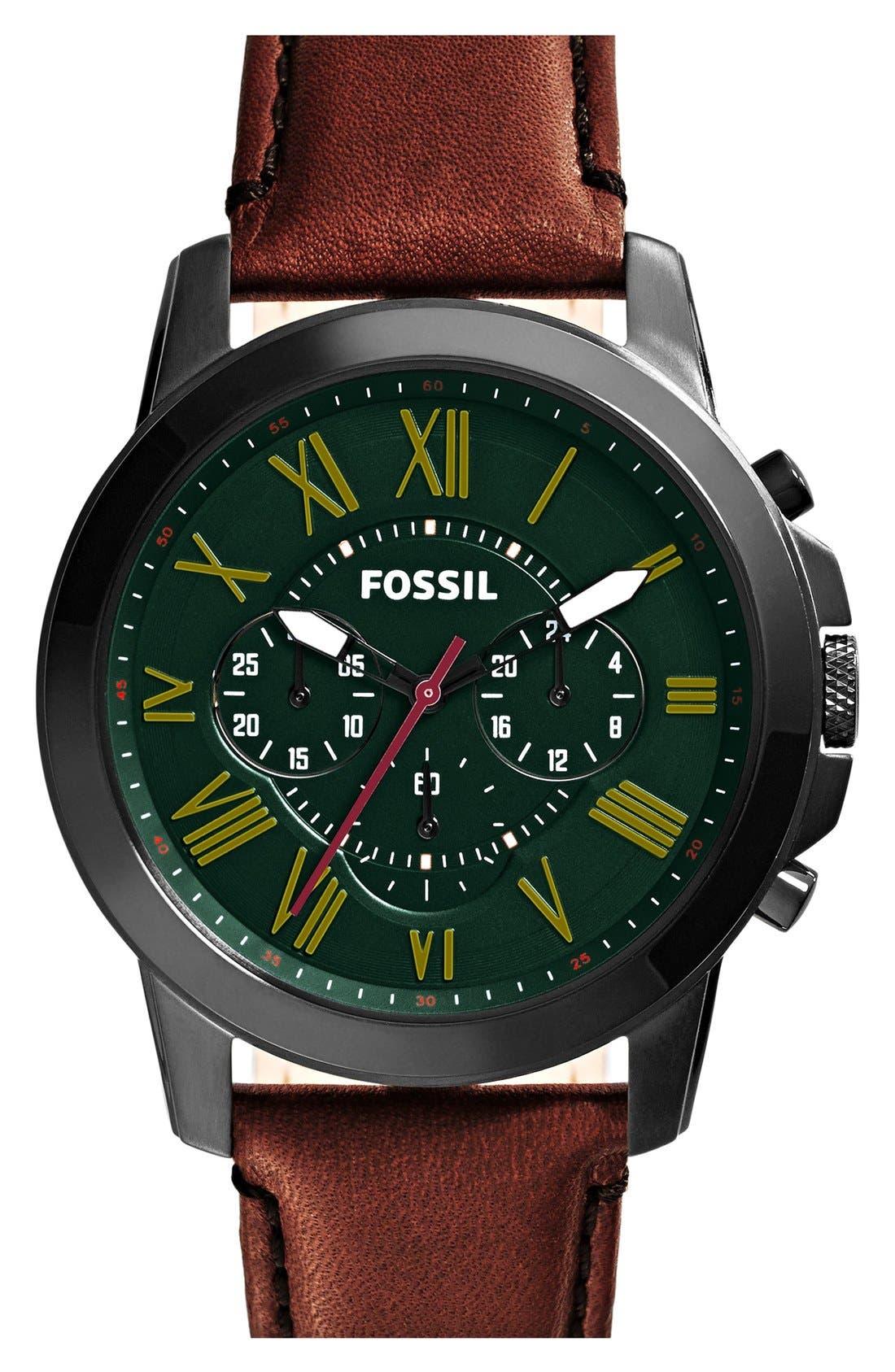 'Grant' Round Chronograph Leather Strap Watch, 44mm,                             Main thumbnail 14, color,