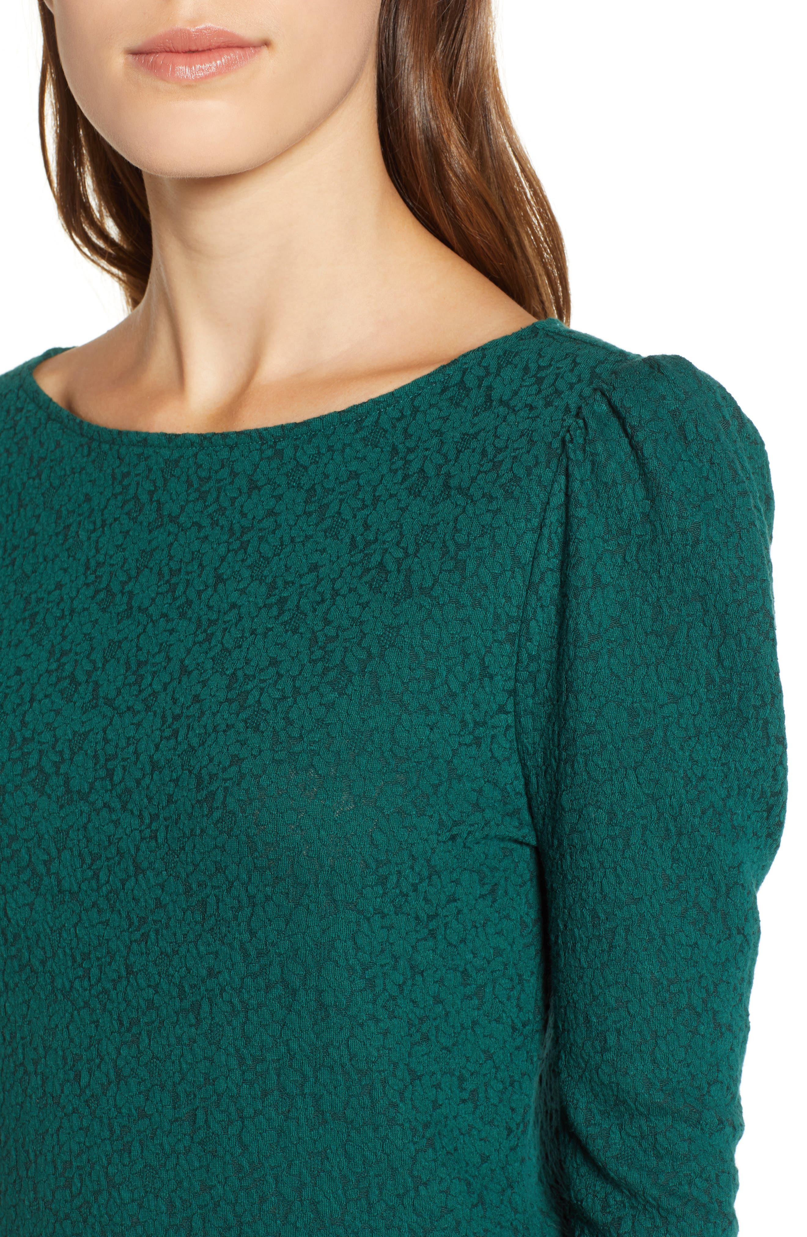 Lace Puff Sleeve Top,                             Alternate thumbnail 4, color,                             GREEN BOTANICAL