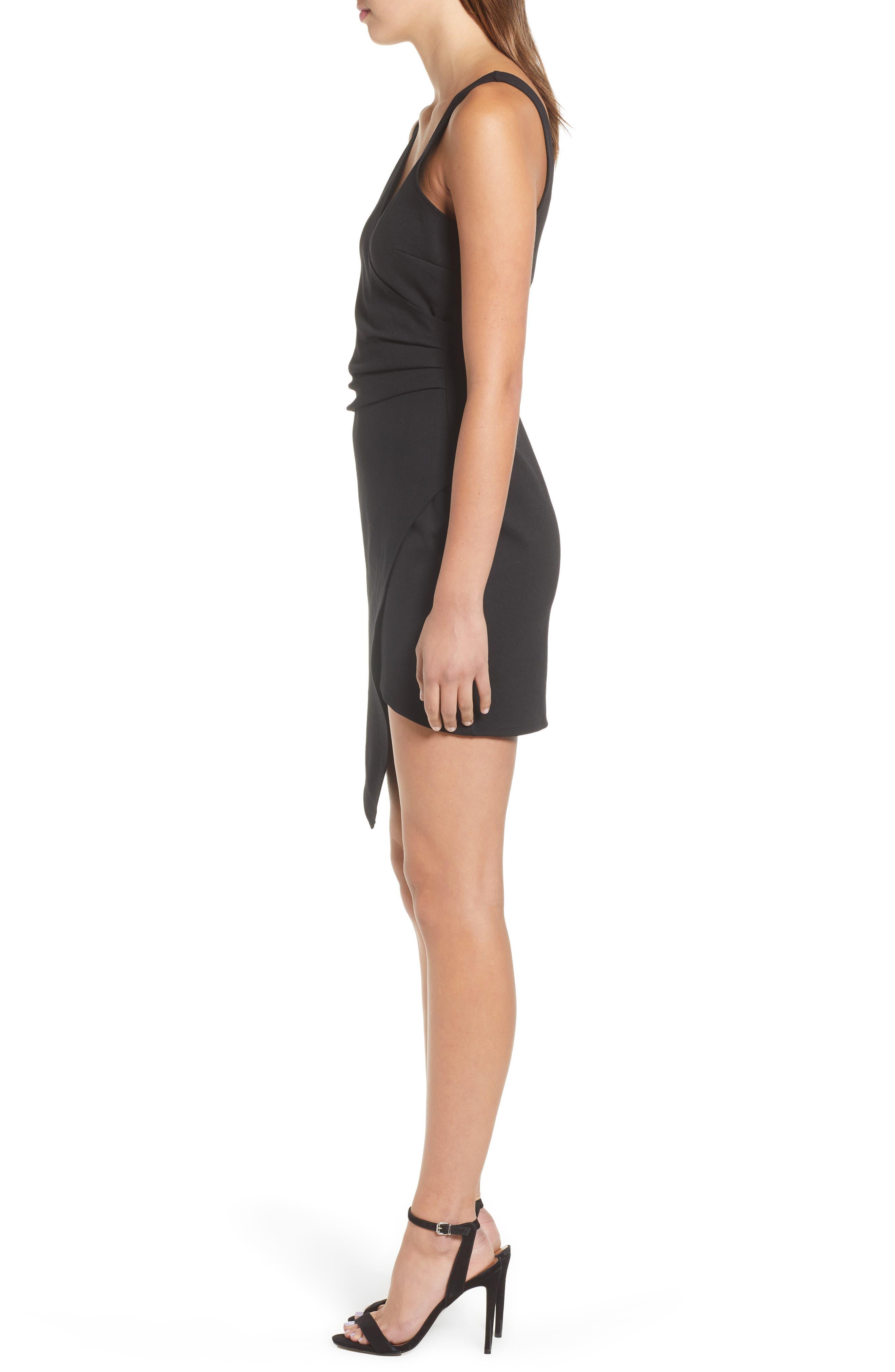 Asymmetrical Body-Con Dress,                             Alternate thumbnail 3, color,                             001