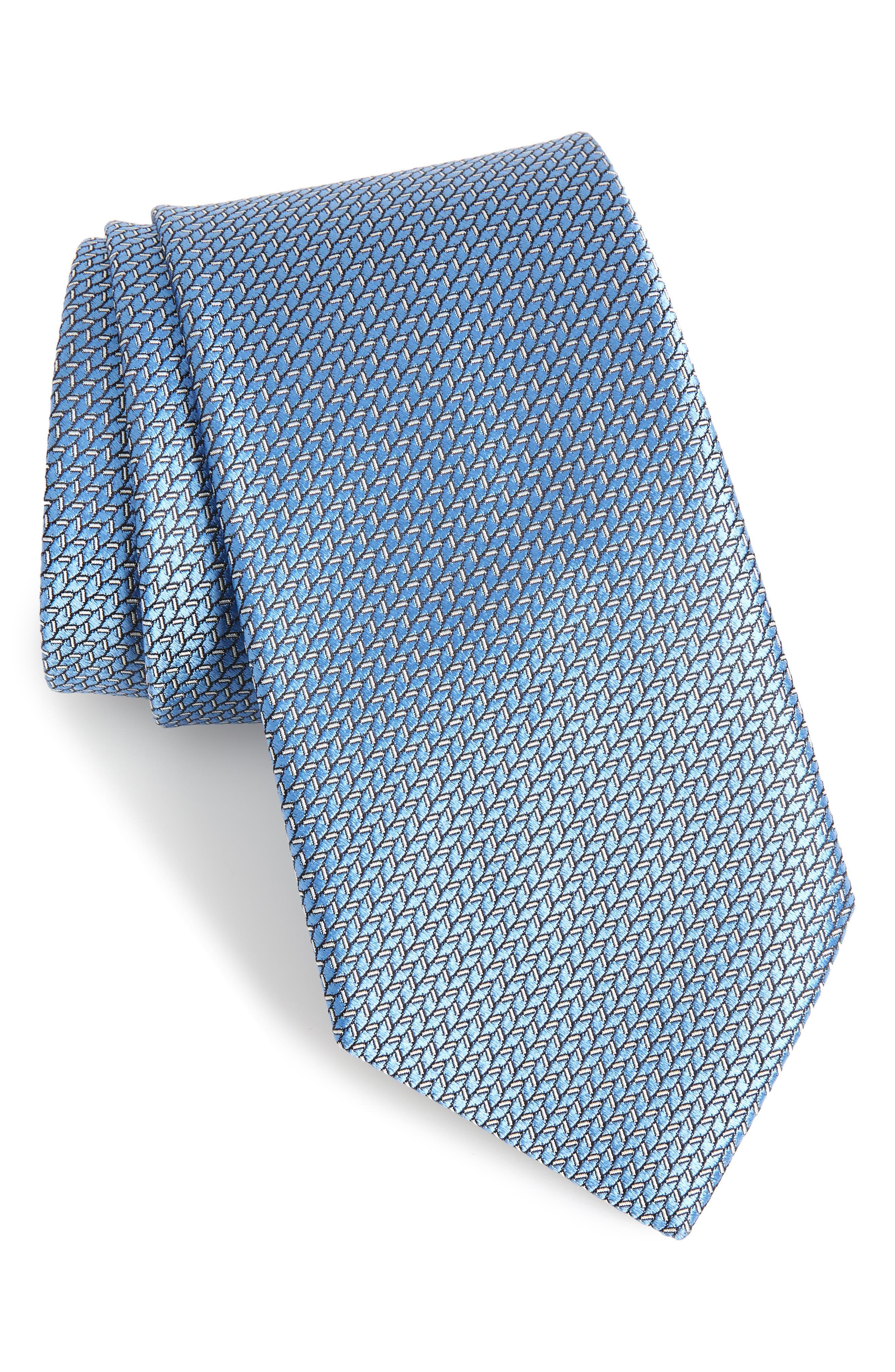 Ermengildo Zegna Herringbone Silk Tie,                             Main thumbnail 1, color,                             BLUE