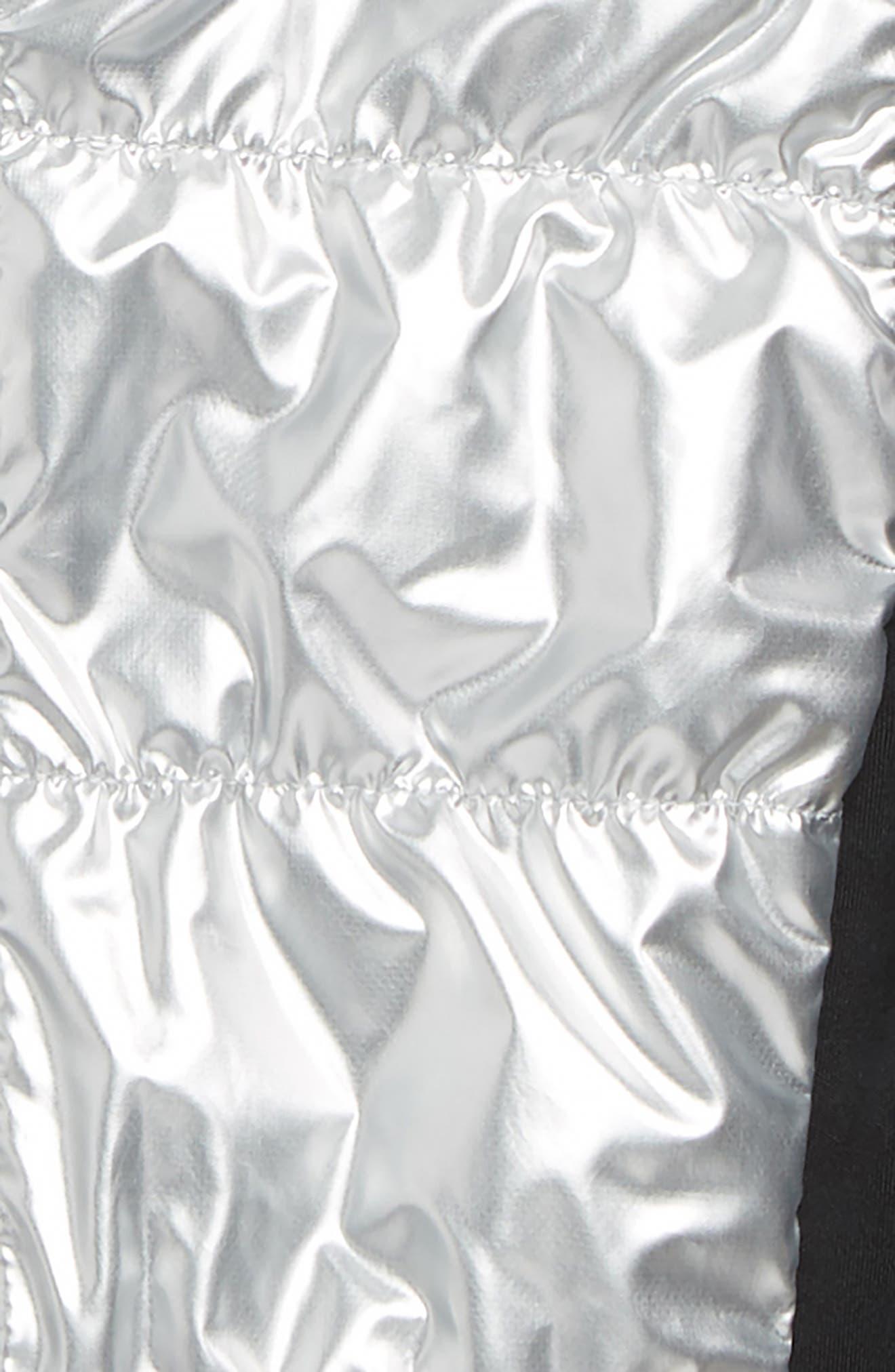 ZELLA GIRL,                             Zella Shine Quilted Hooded Vest,                             Alternate thumbnail 2, color,                             METALLIC SILVER