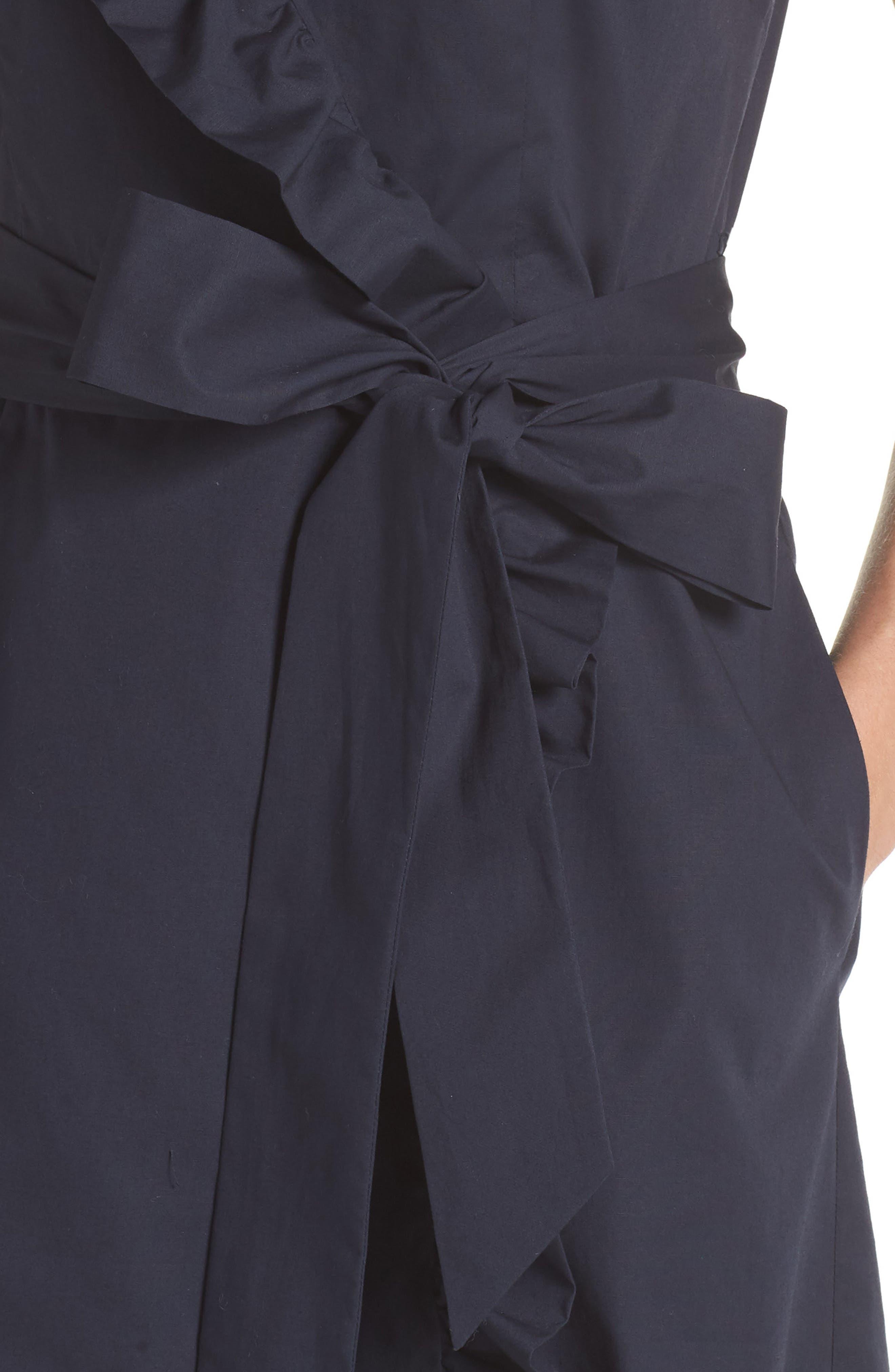 Ruffle Trim Poplin Wrap Dress,                             Alternate thumbnail 4, color,                             410