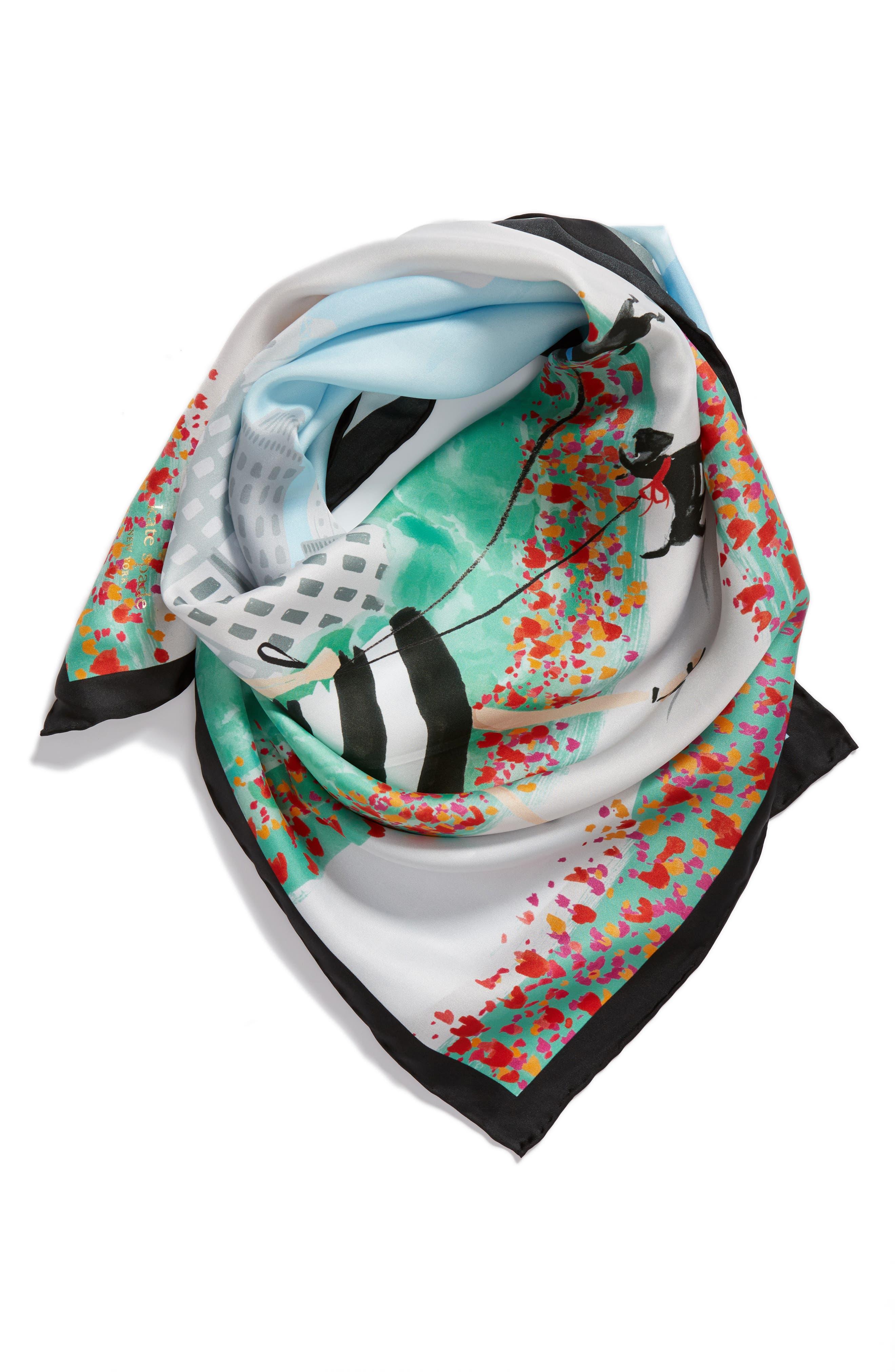 nyc scene square silk scarf,                             Alternate thumbnail 2, color,                             001