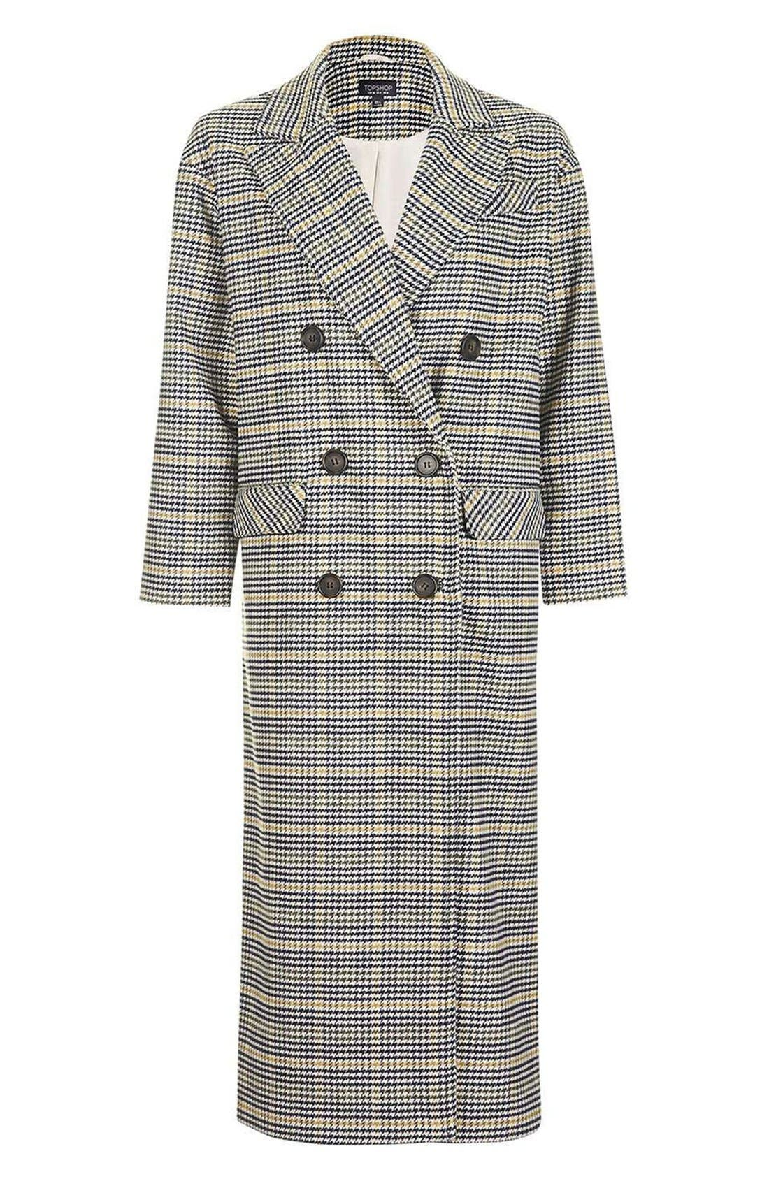 TOPSHOP,                             Heritage Check Coat,                             Alternate thumbnail 7, color,                             001