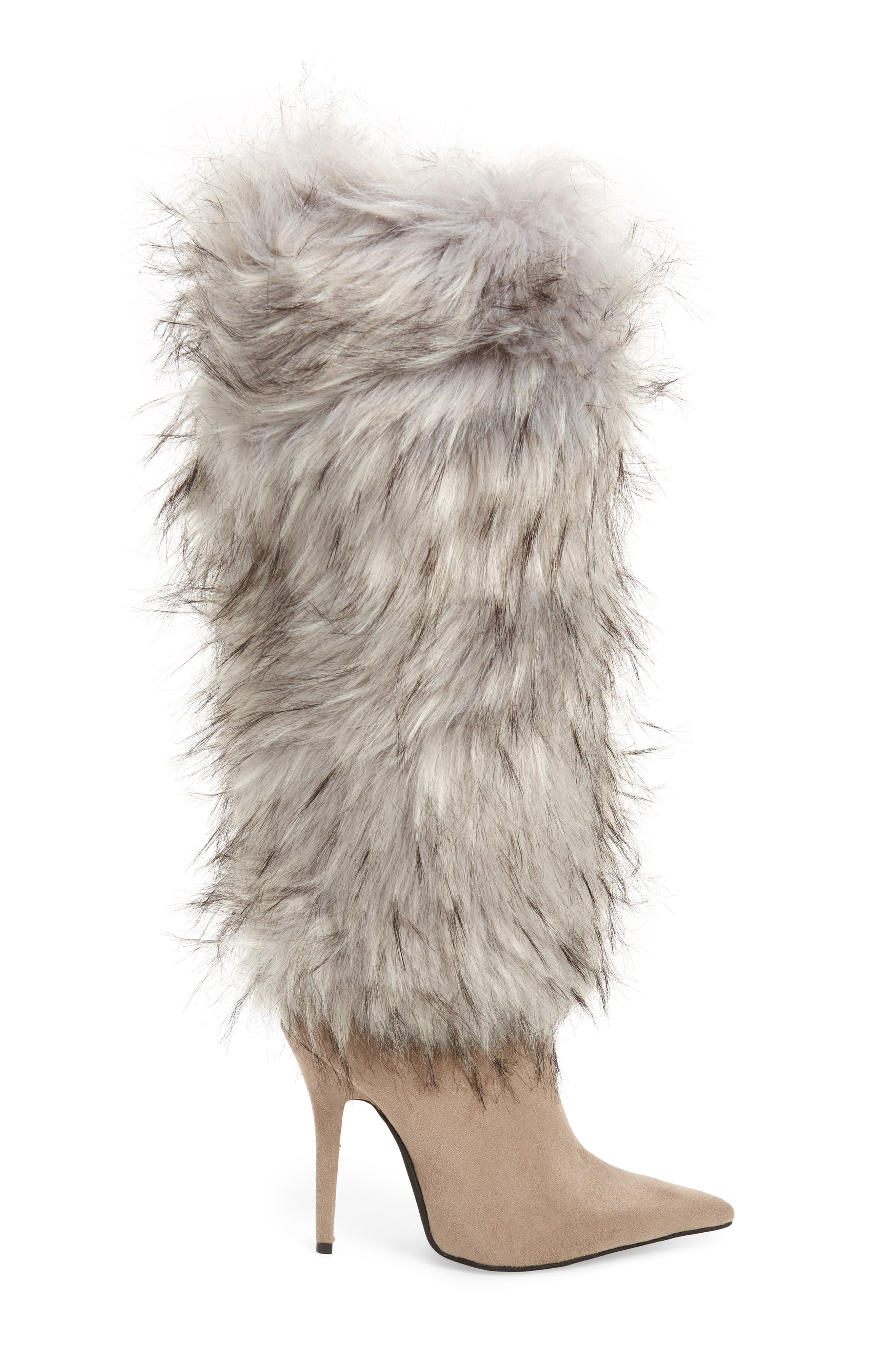 Vedet Faux Fur Knee High Boot,                             Alternate thumbnail 3, color,                             DARK TAUPE SUEDE