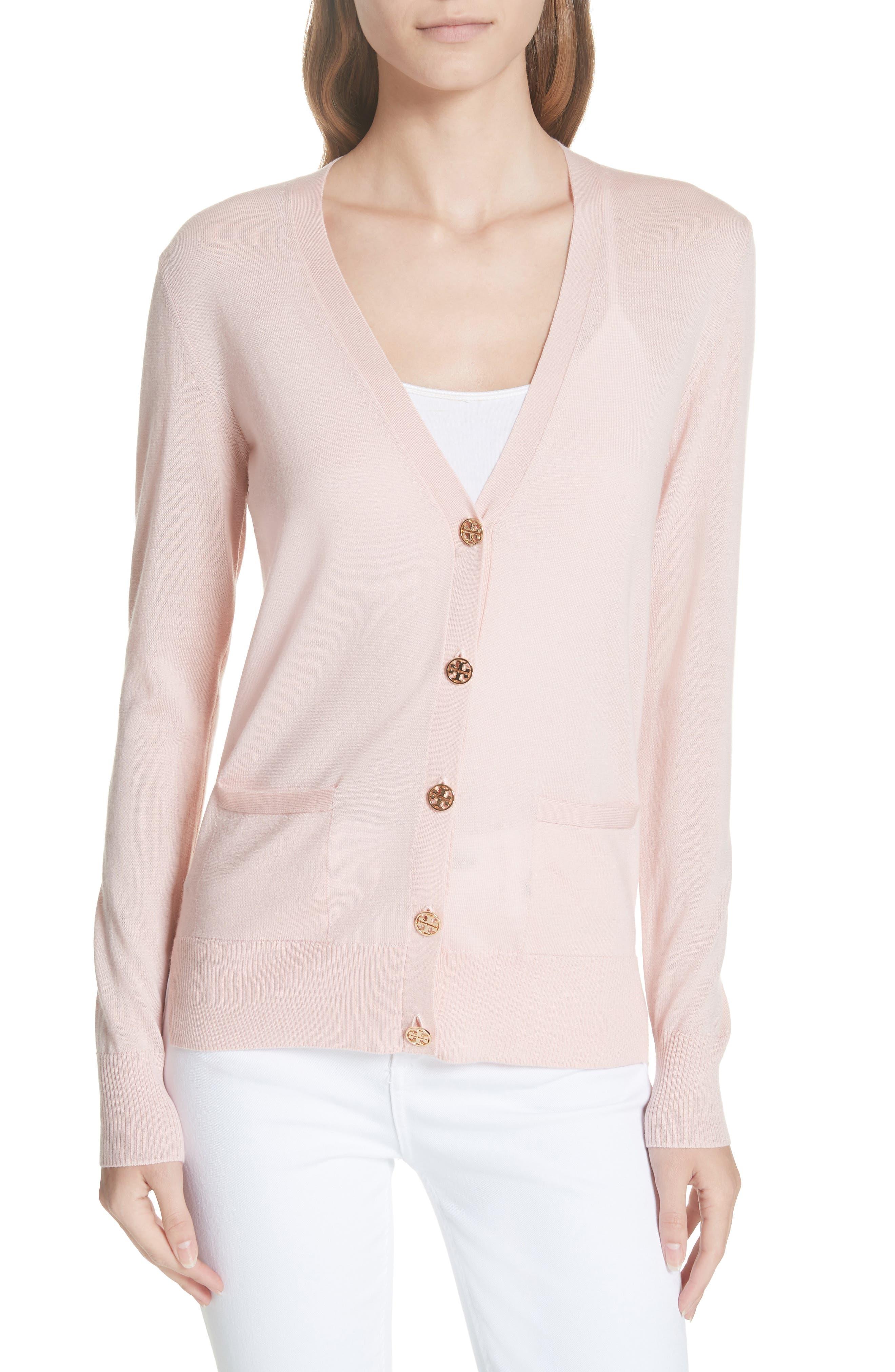 Tory Burch Madeline Merino Wool Cardigan, Pink