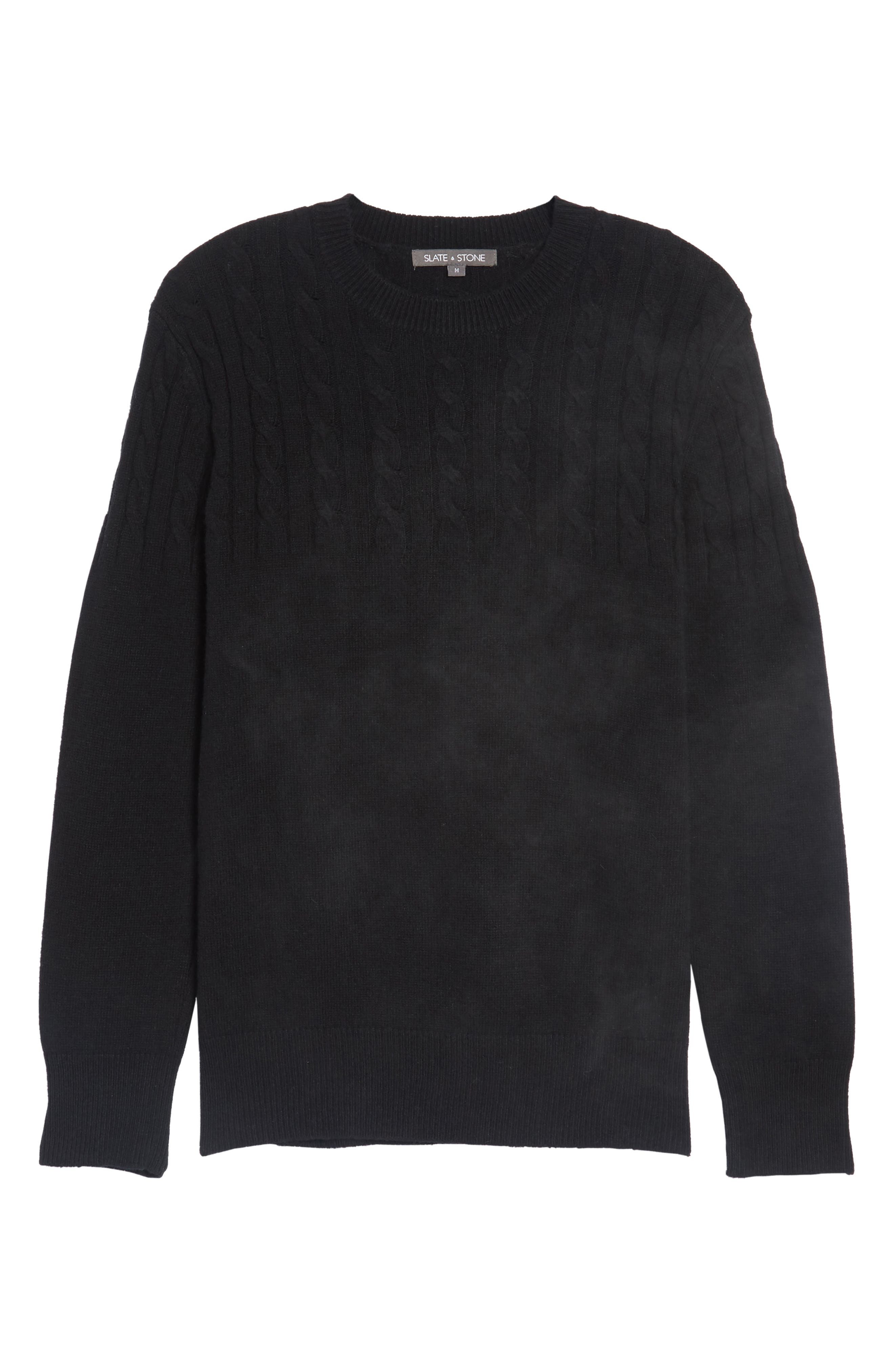 Wool Cable Knit Sweater,                             Alternate thumbnail 6, color,                             001
