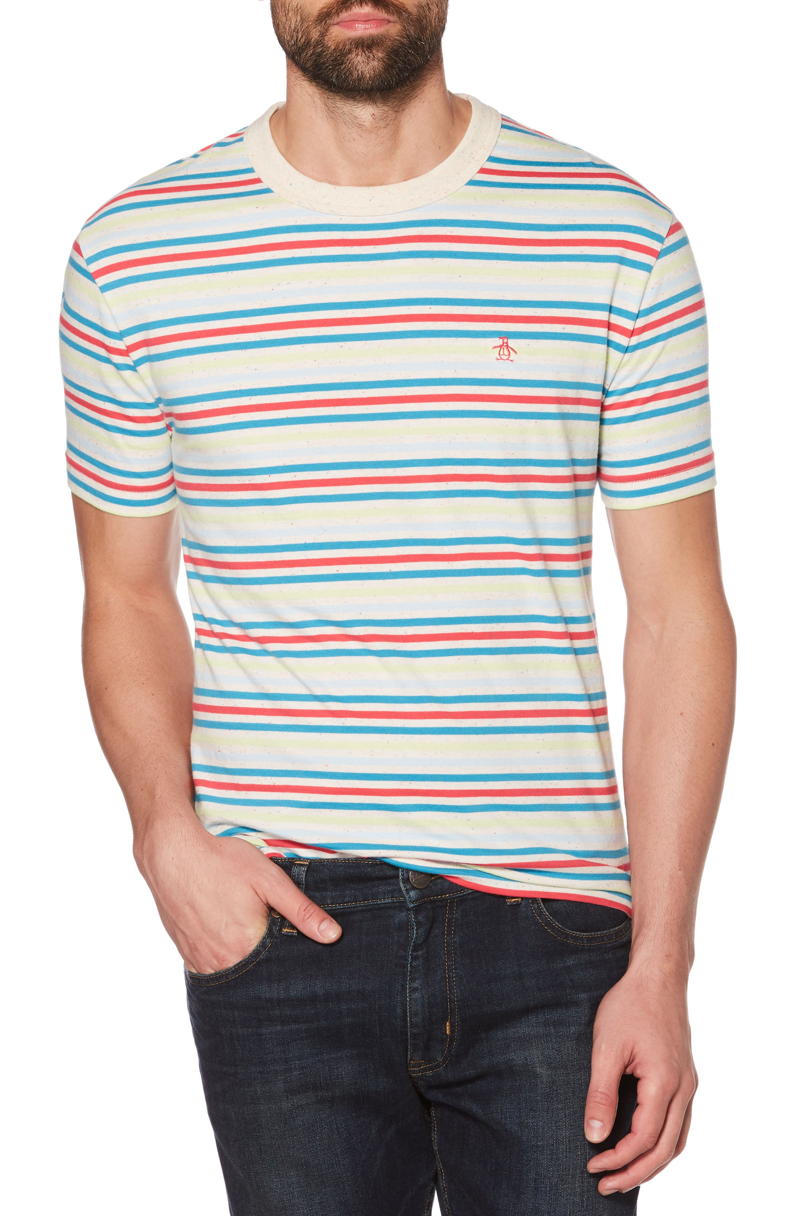 Nep Pop Stripe T-Shirt,                             Main thumbnail 1, color,                             BRIGHT WHITE