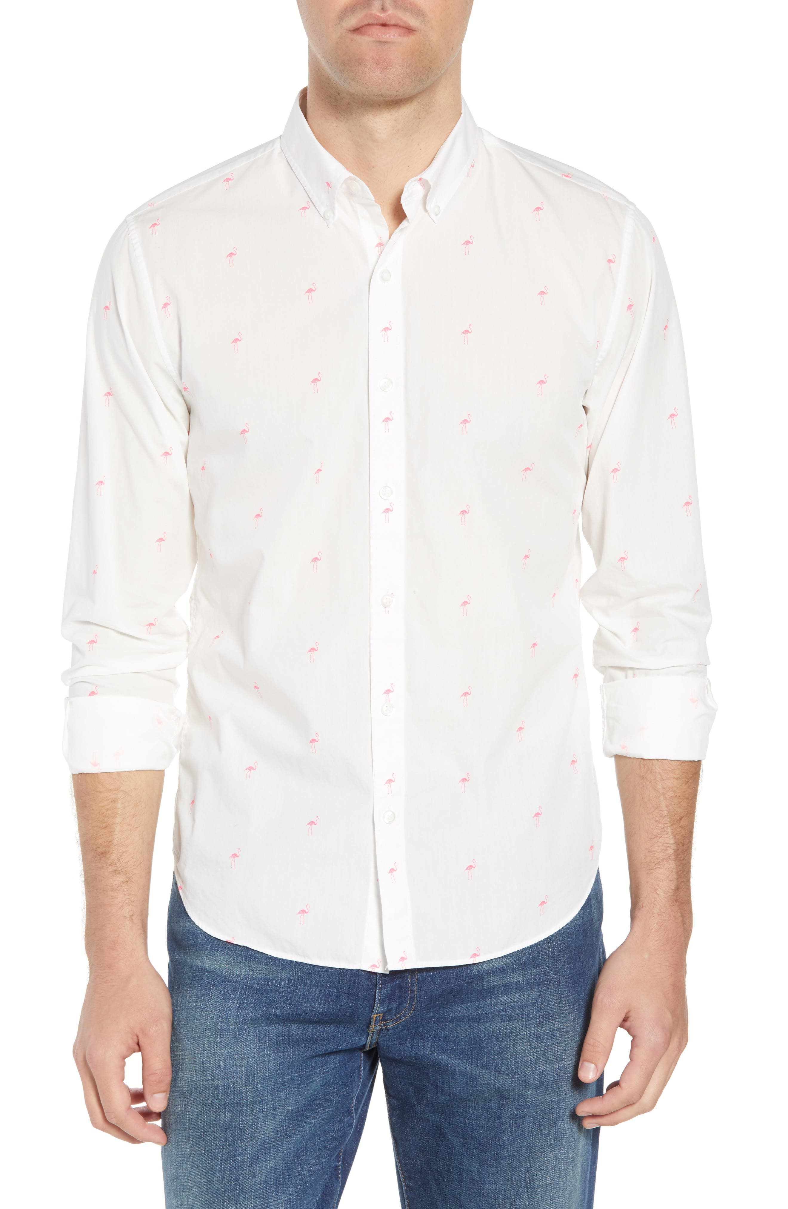 Summerweight Slim Fit Flamingo Print Sport Shirt,                             Main thumbnail 1, color,                             100