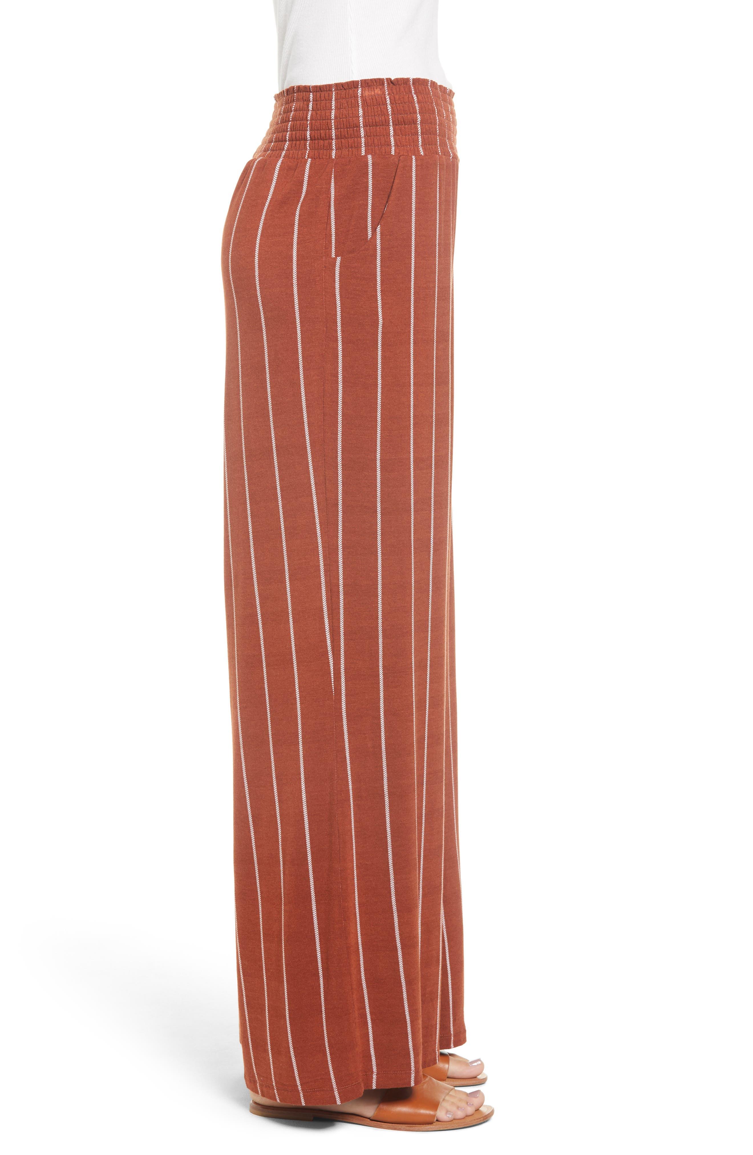 Stripe Knit Wide Leg Pants,                             Alternate thumbnail 3, color,                             SEQUOIA