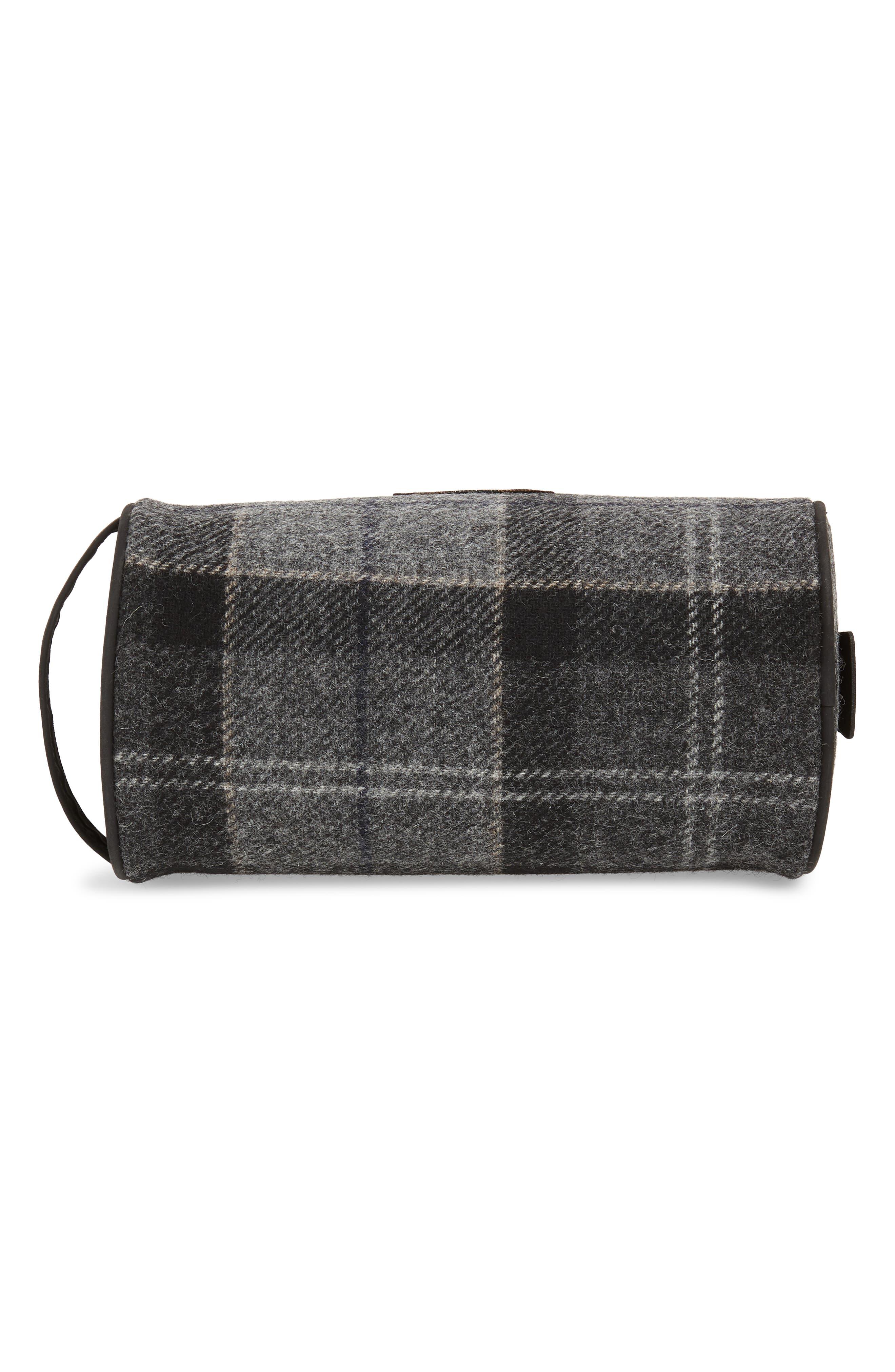 Shadow Tartan Wool Travel Kit,                             Alternate thumbnail 5, color,                             BLACK/ GREY TARTAN