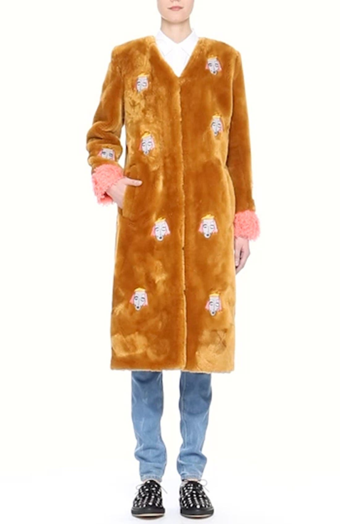 'Frenchie' Faux Fur Coat with Patches,                             Alternate thumbnail 6, color,                             240