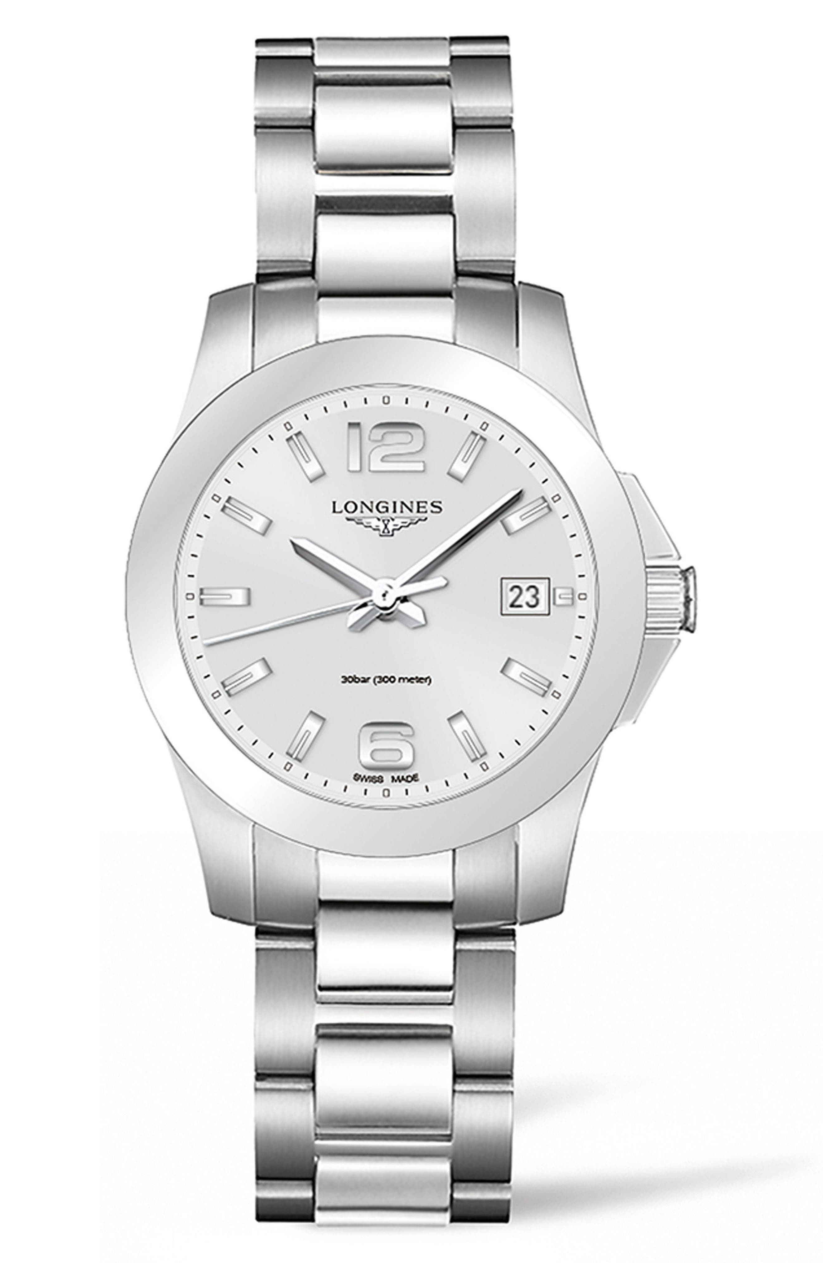 Conquest Bracelet Watch, 34mm,                             Main thumbnail 1, color,                             SILVER